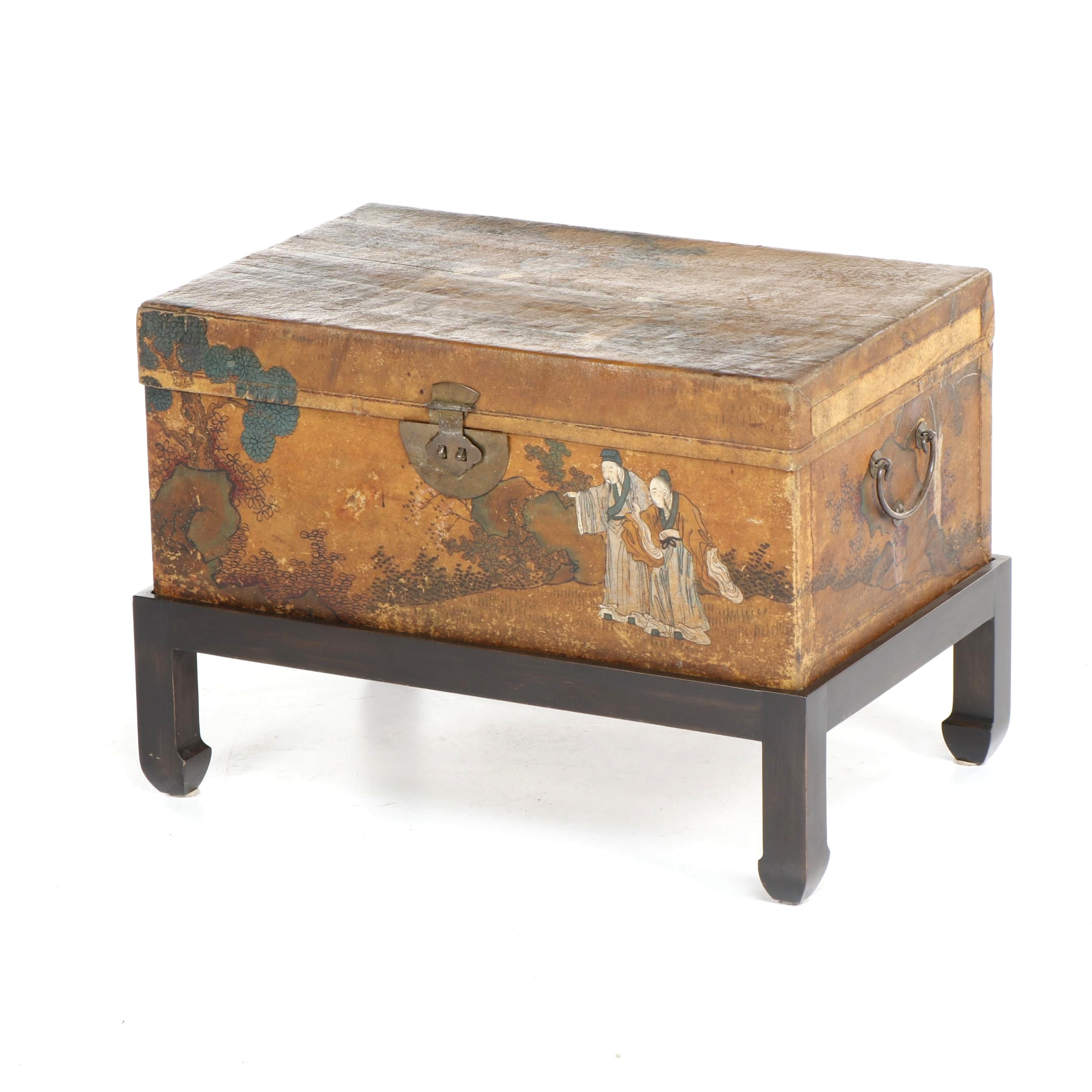 Chinese Painted Leather Covered Wood Trunk, Circa 1900