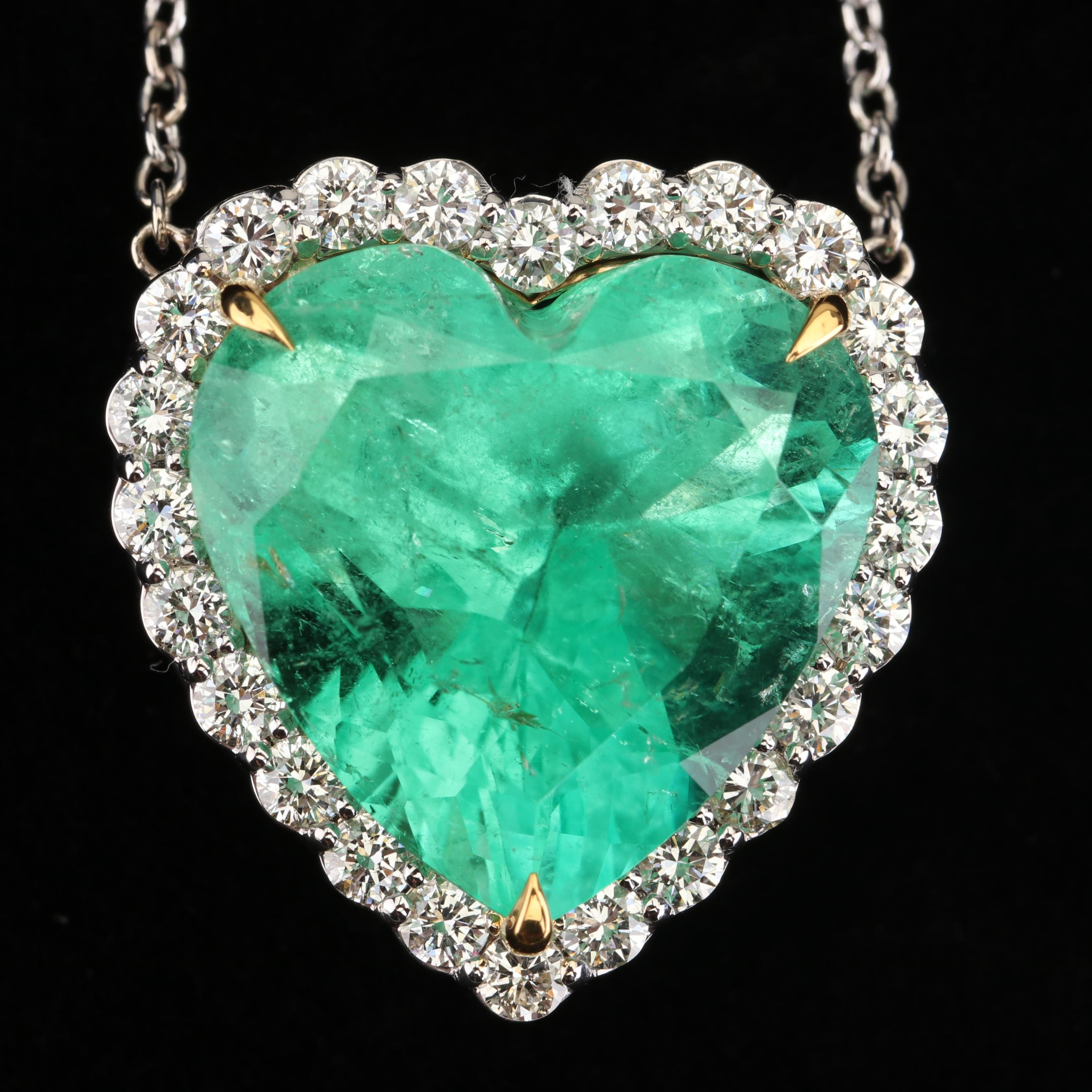 18K Gold 17.78 CT Colombian Emerald and 1.40 CTW Diamond Necklace with GIA