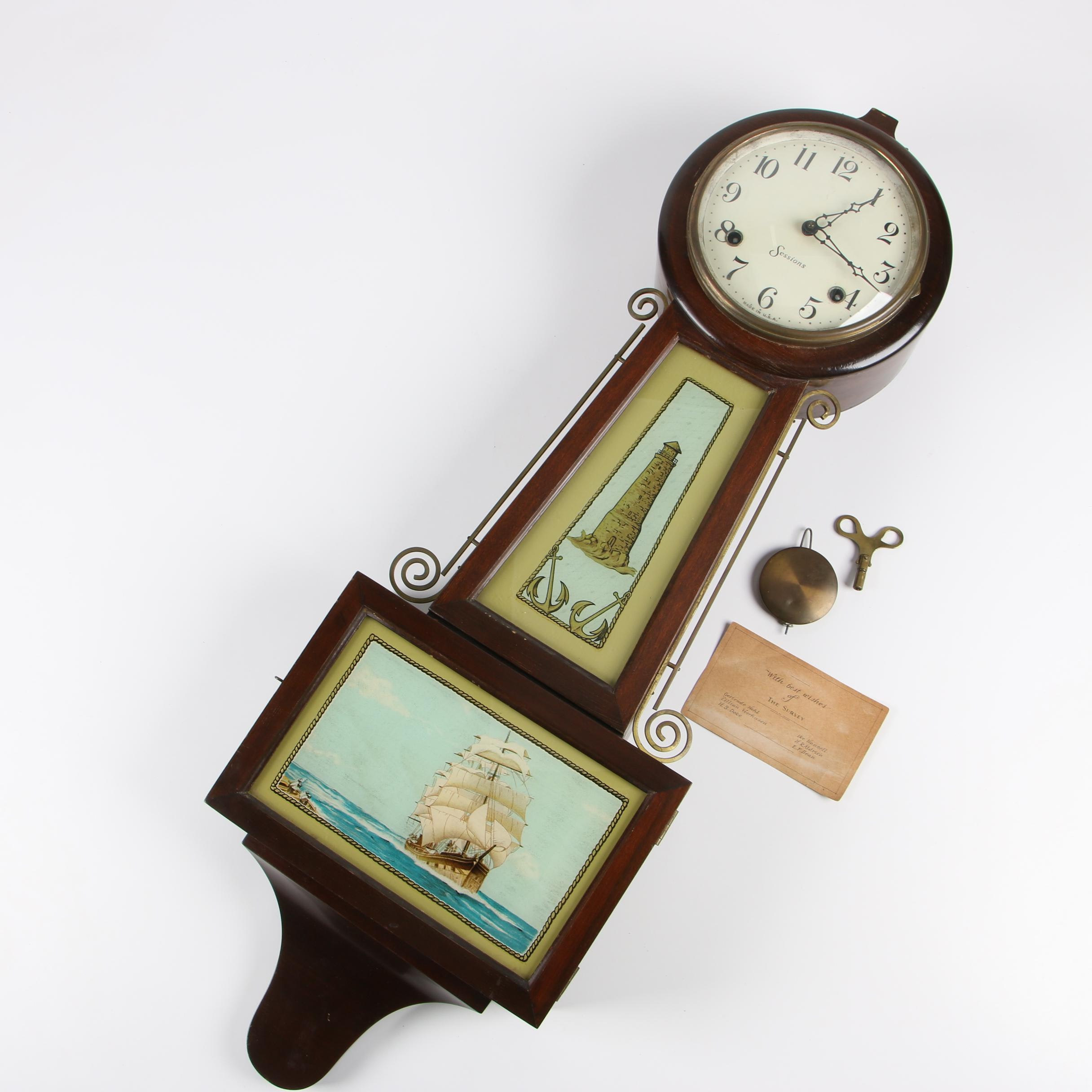 Sessions Walnut Stained Banjo Clock with Nautical Tablets, Late 19th Century