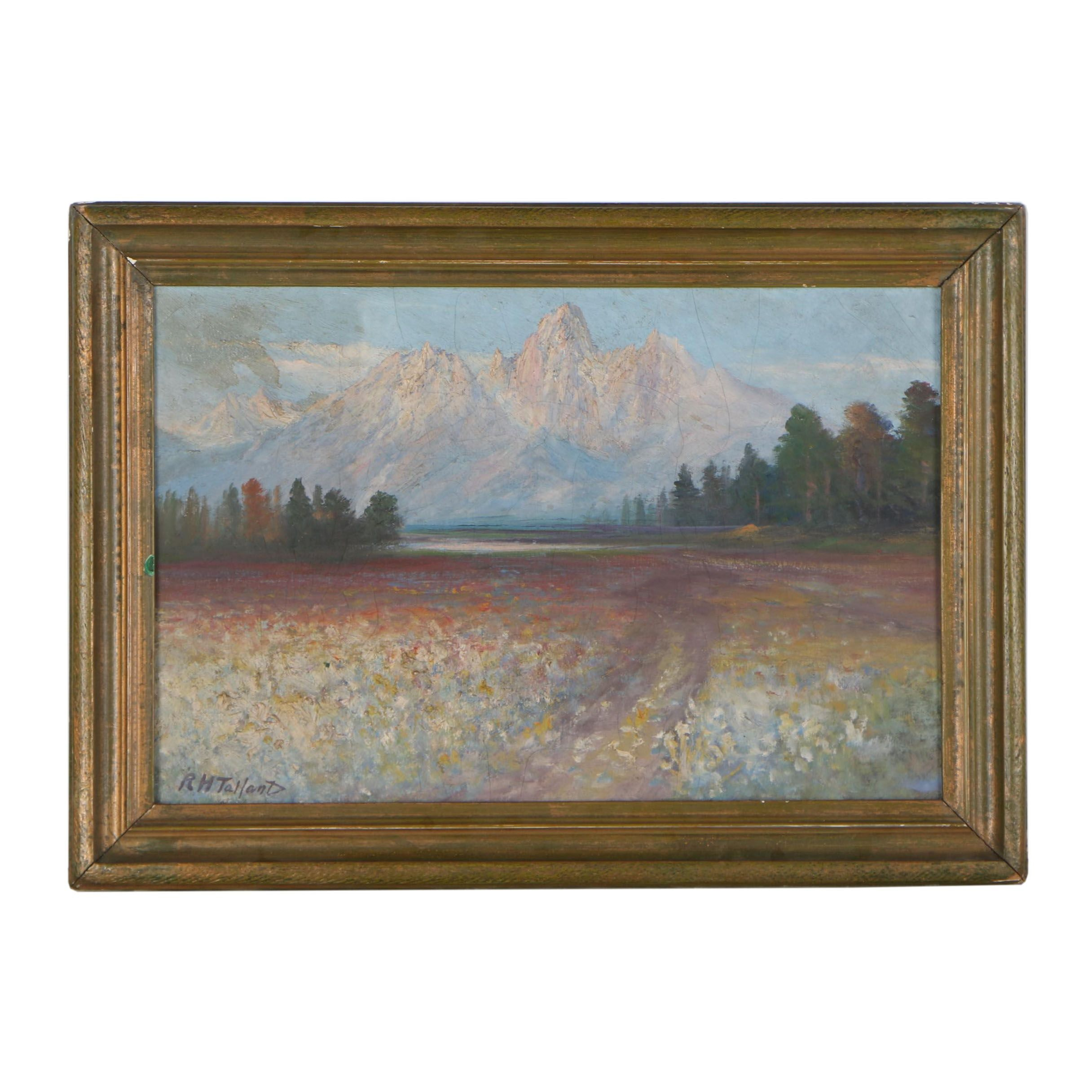 "Richard H. Tallant Landscape Oil Painting ""Grand Tetons"""