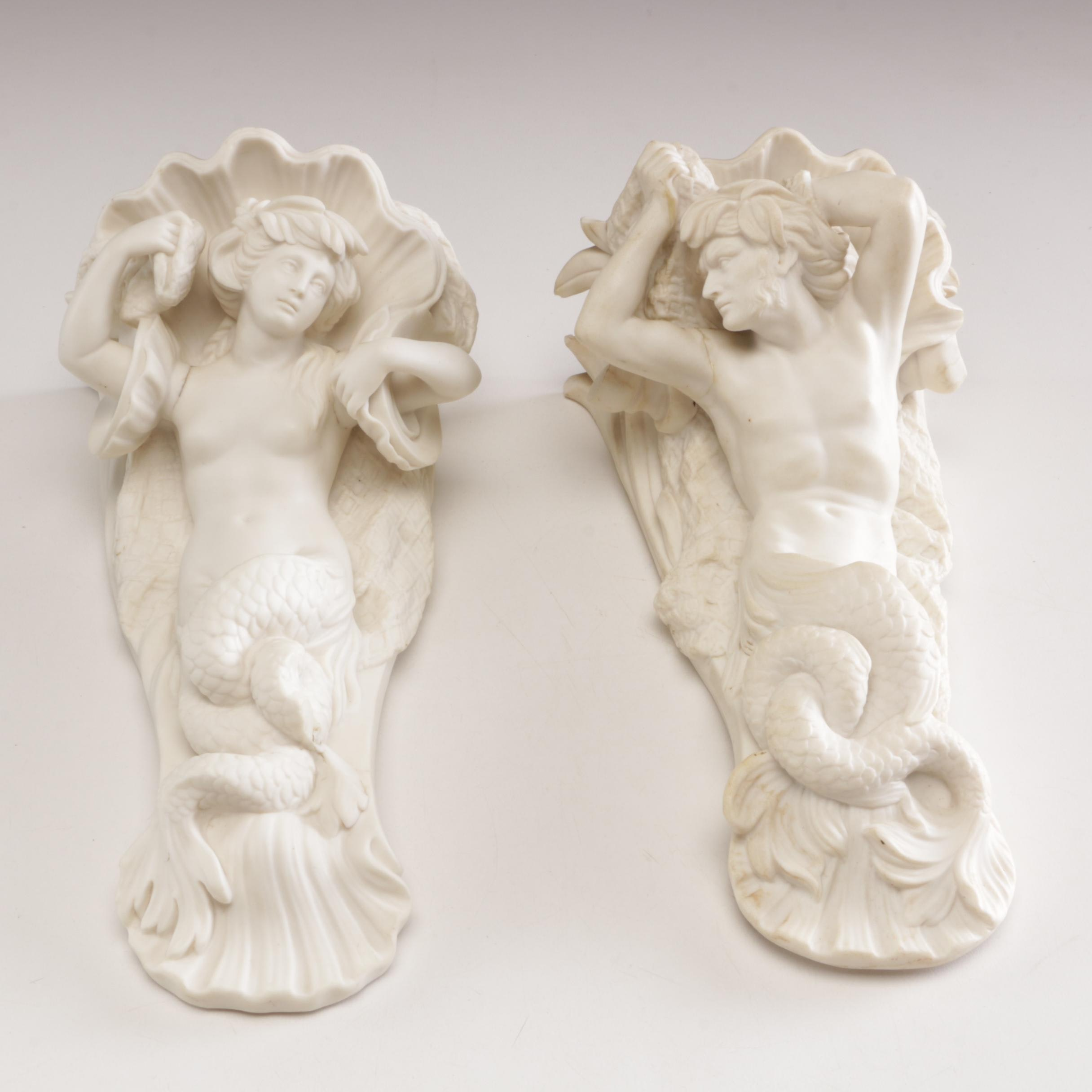 Pair of Ceramic Merfolk Wall Accents