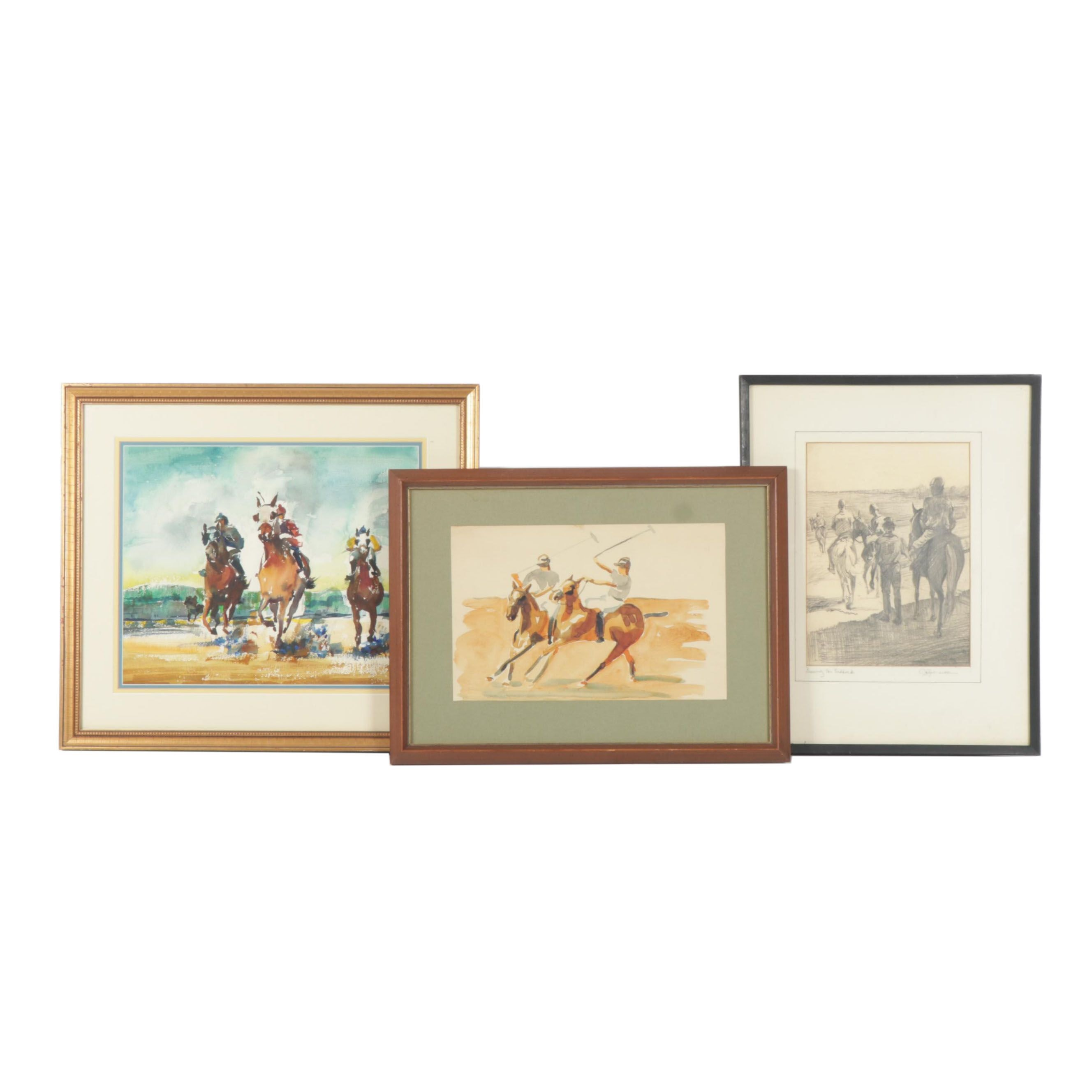 Charles Le Boutillier Equestrian Watercolor Paintings and Drawing