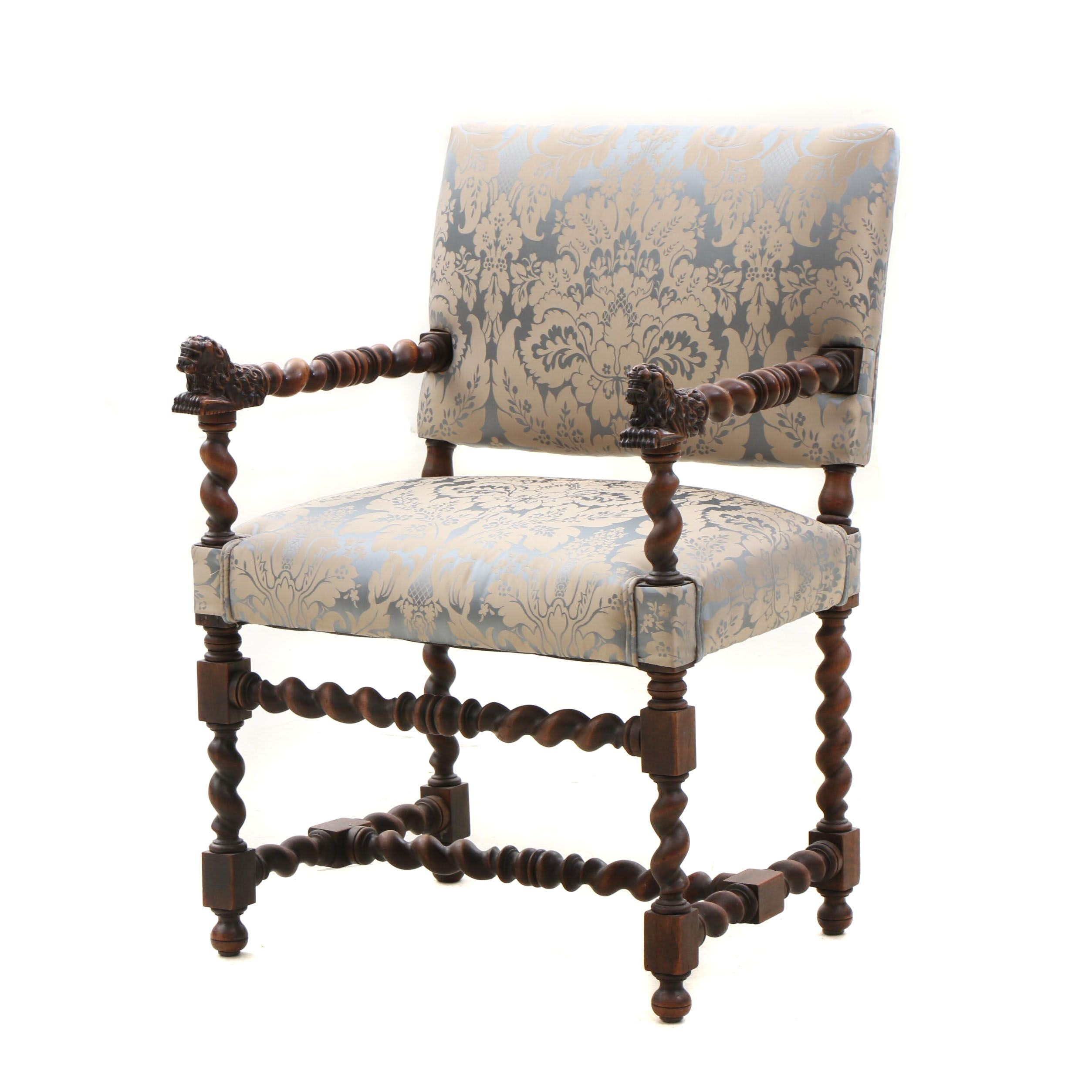 Italian Revival Style Walnut Barley Twist Upholstered Arm Chair