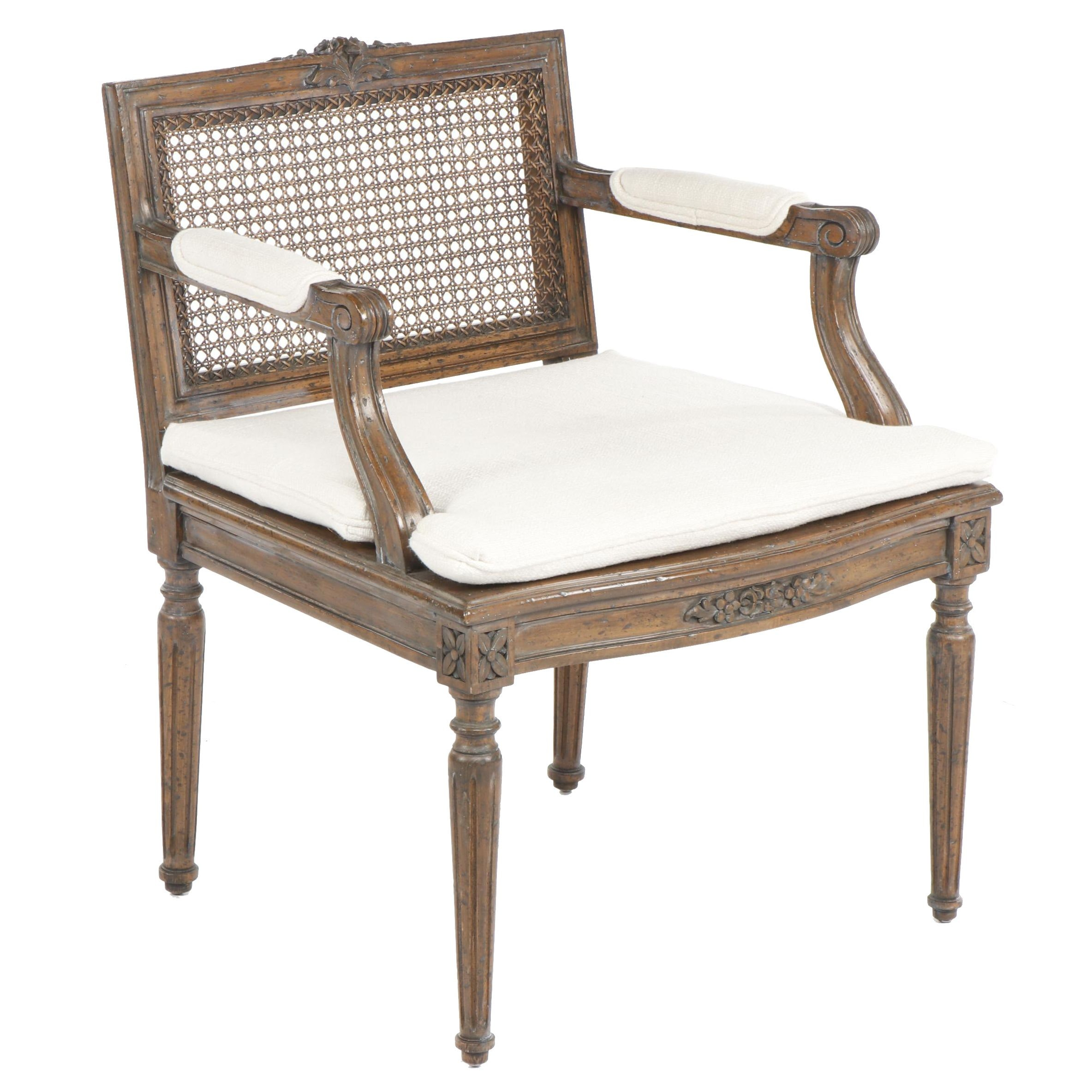 Louis XVI Style Armchair with Caned Back and Seat, Mid 20th Century
