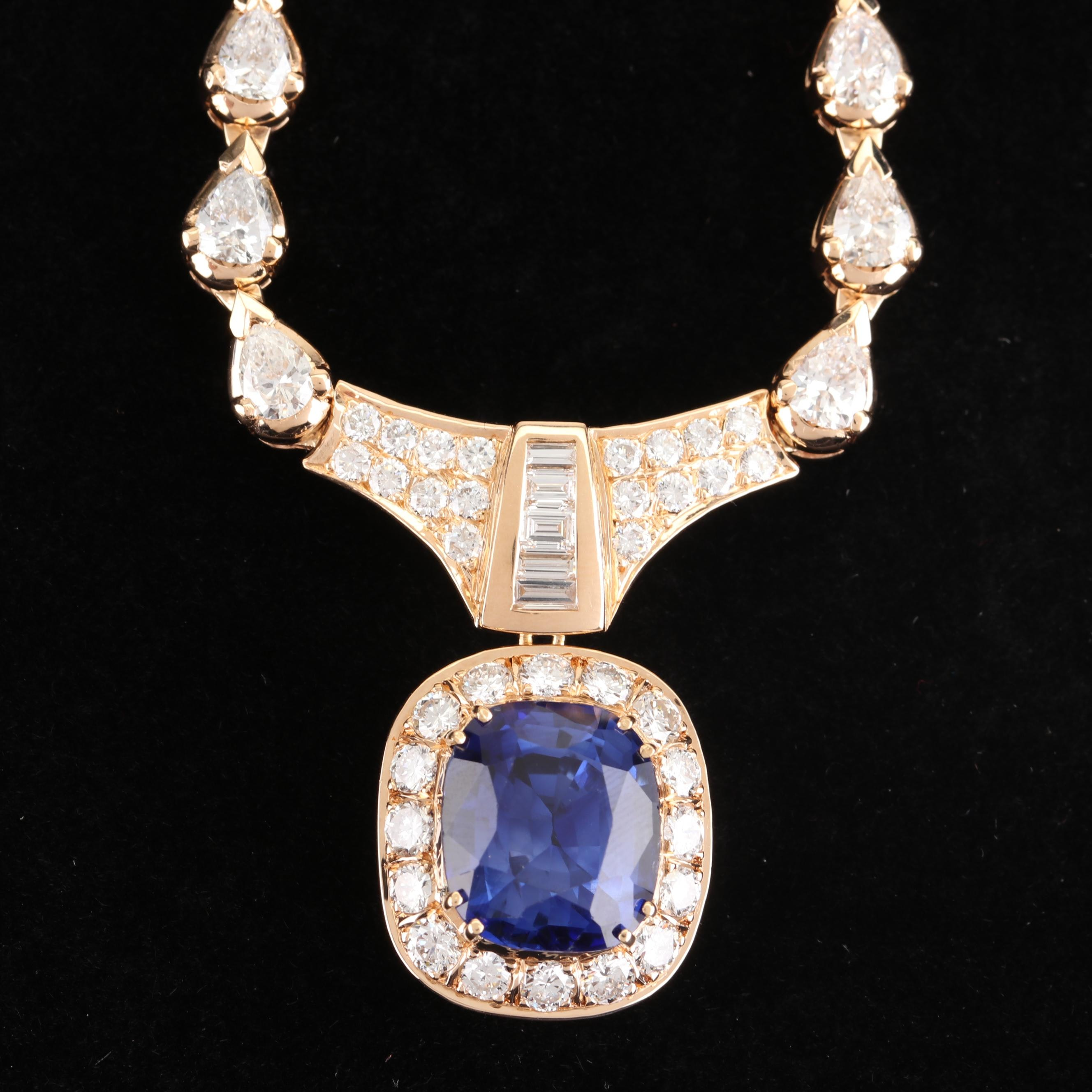 18K Yellow Gold 9.66 CT Sapphire and 6.94 CTW Diamond Necklace