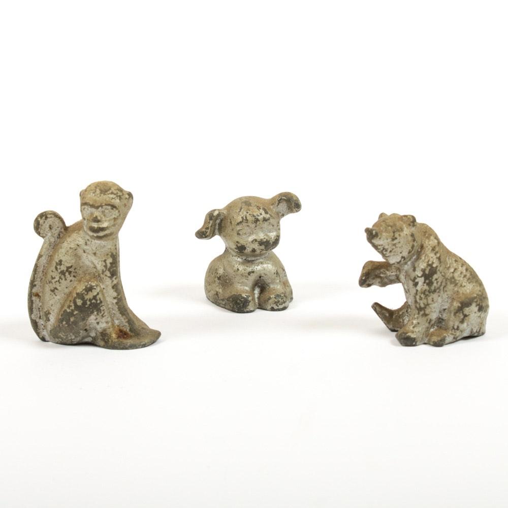 Three Cast Lead Toy Animal Figurines, Vintage