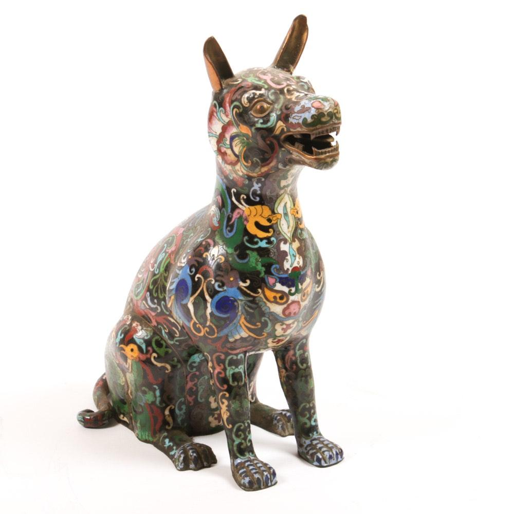 Chinese Cloisonné Dog Figurine