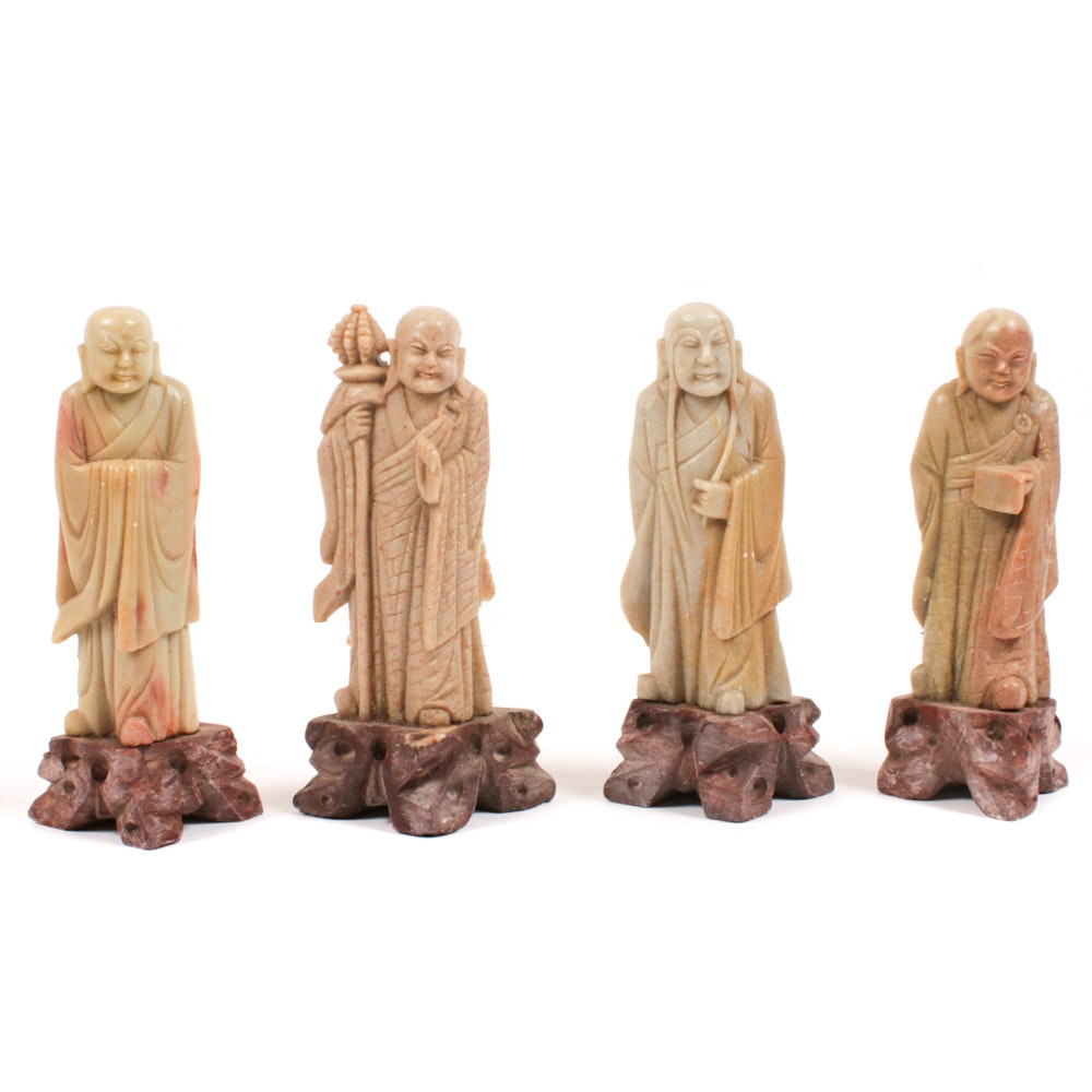 Chinese Carved Soapstone Buddhist Monk Figures