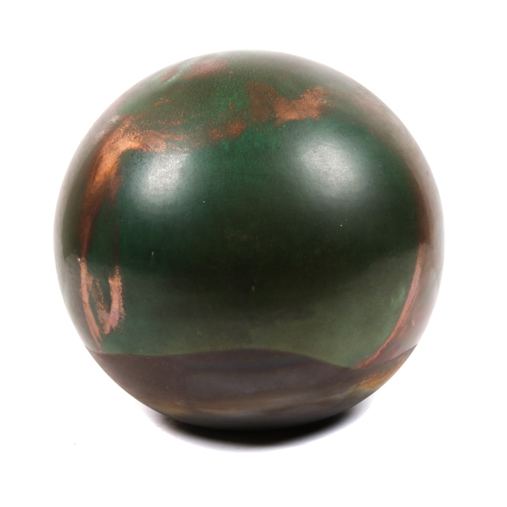 Tony Evans Copper Flashed Raku Stoneware Orb