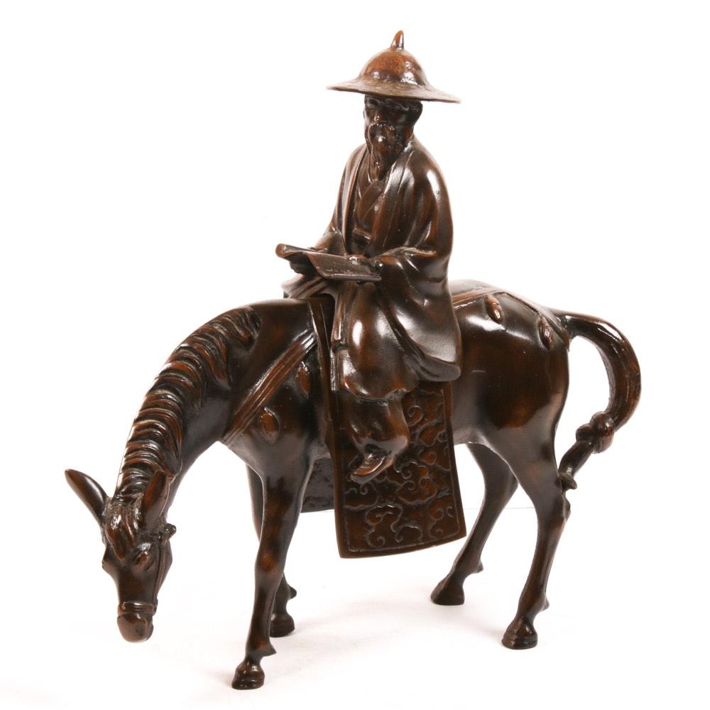Toyo Japanese Cast Iron Scholar Sculpture
