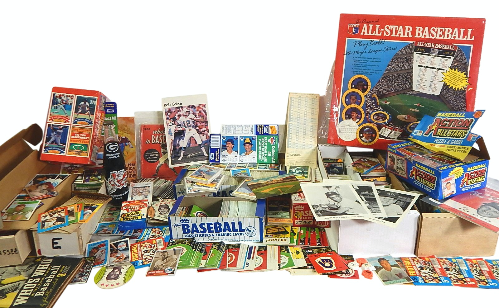 Large Sports Card and Memorabilia Collection with Baseball and Football