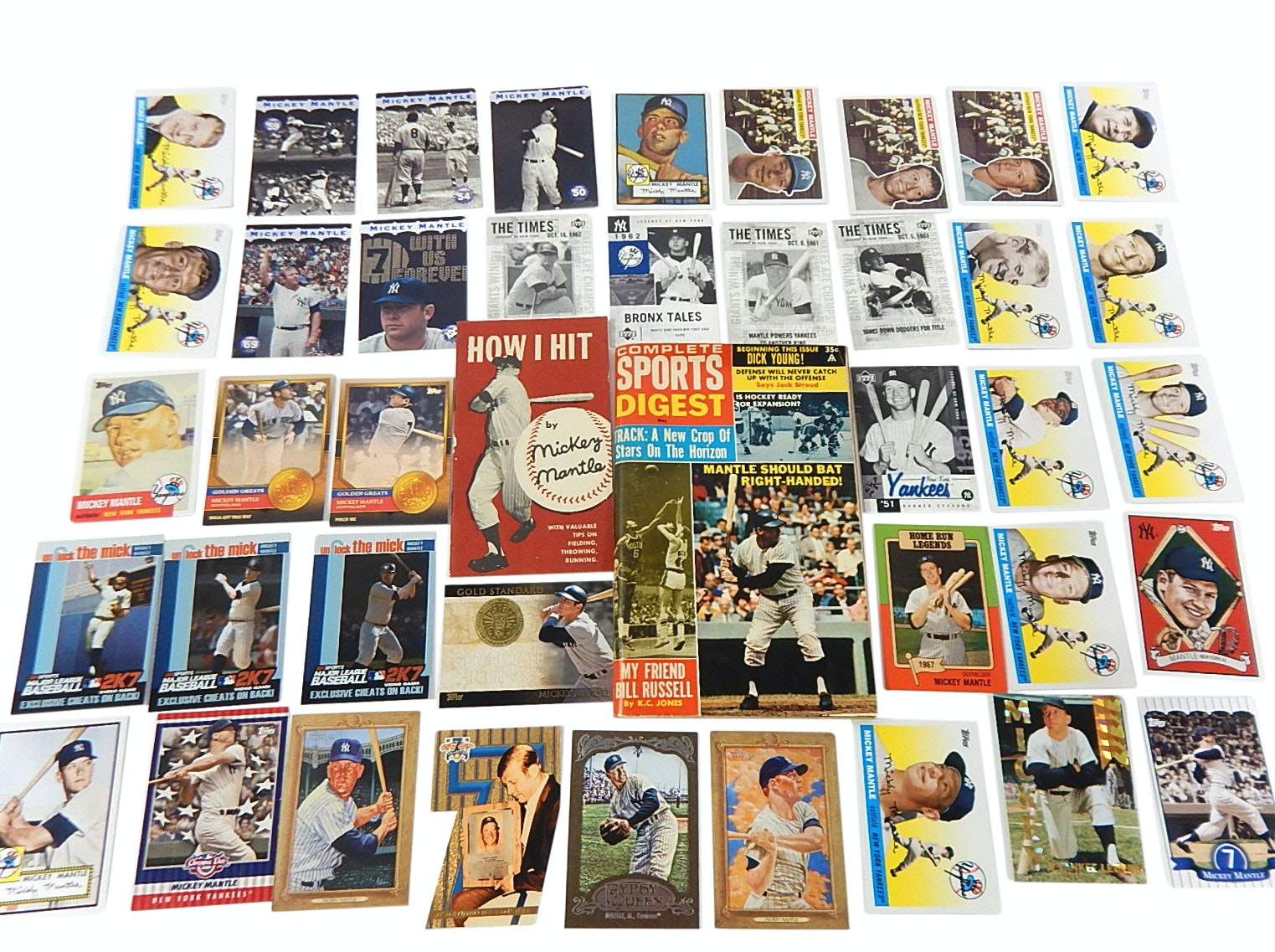 Forty (HOF) Mickey Mantle Baseball Cards with Archive and Inserts, and Books
