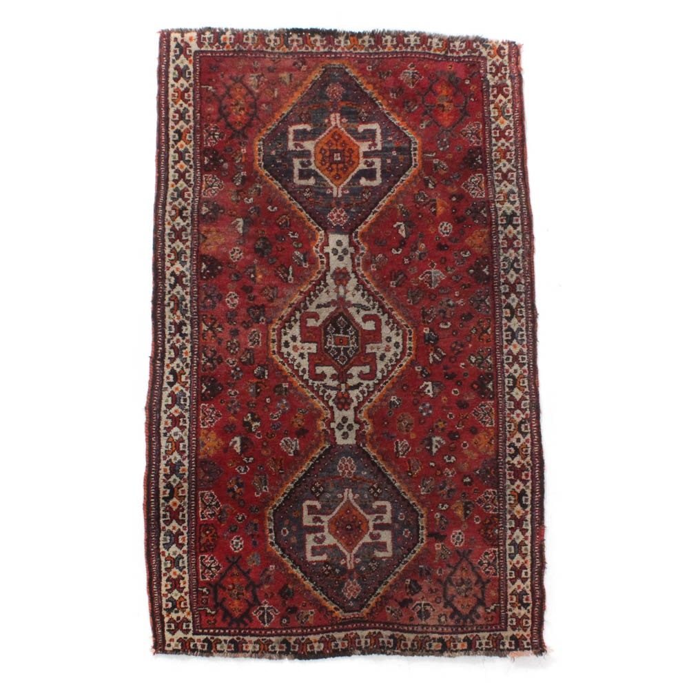Semi-Antique Hand-Knotted Persian Shiraz Rug