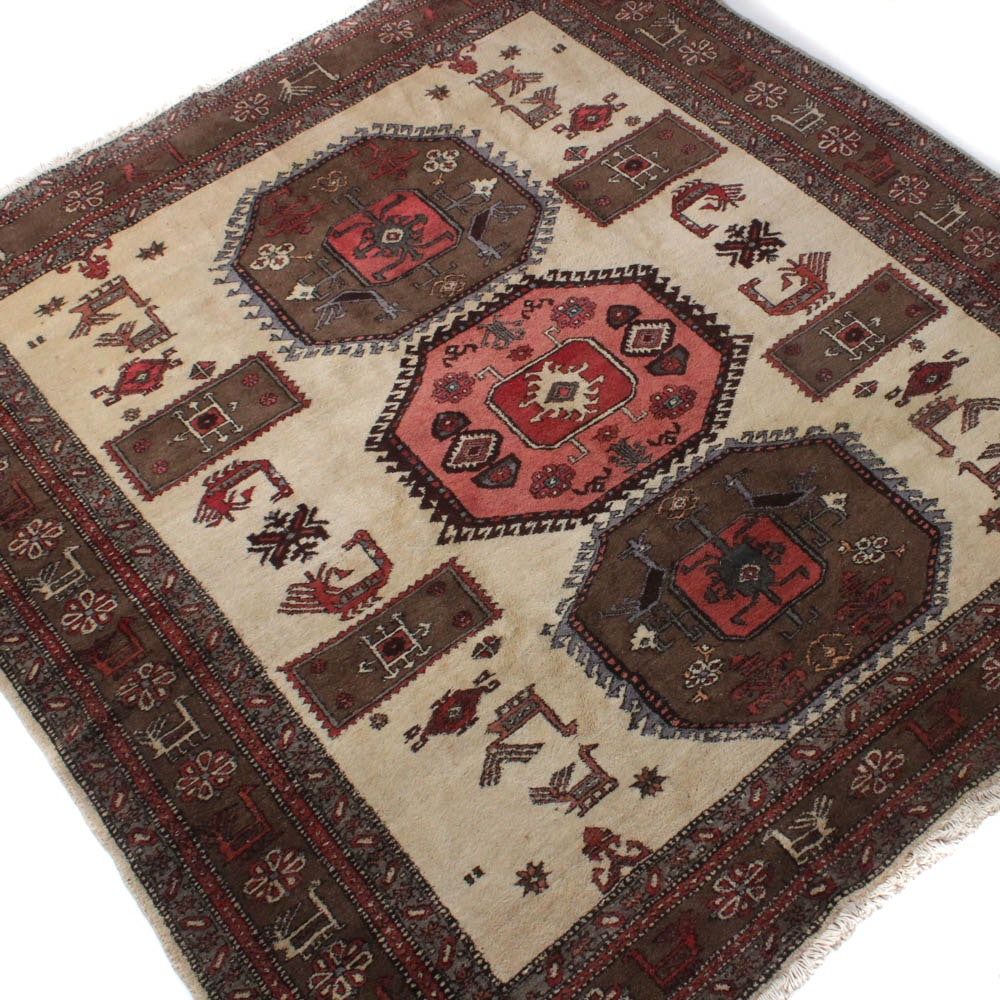 Semi-Antique Hand-Knotted Persian Ardebil Rug
