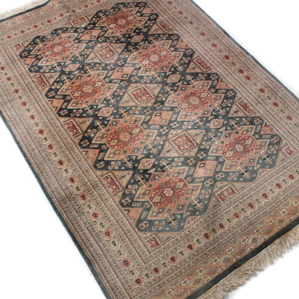 Vintage Hand-Knotted Pakistani Bokhara Silk-Blend Rug