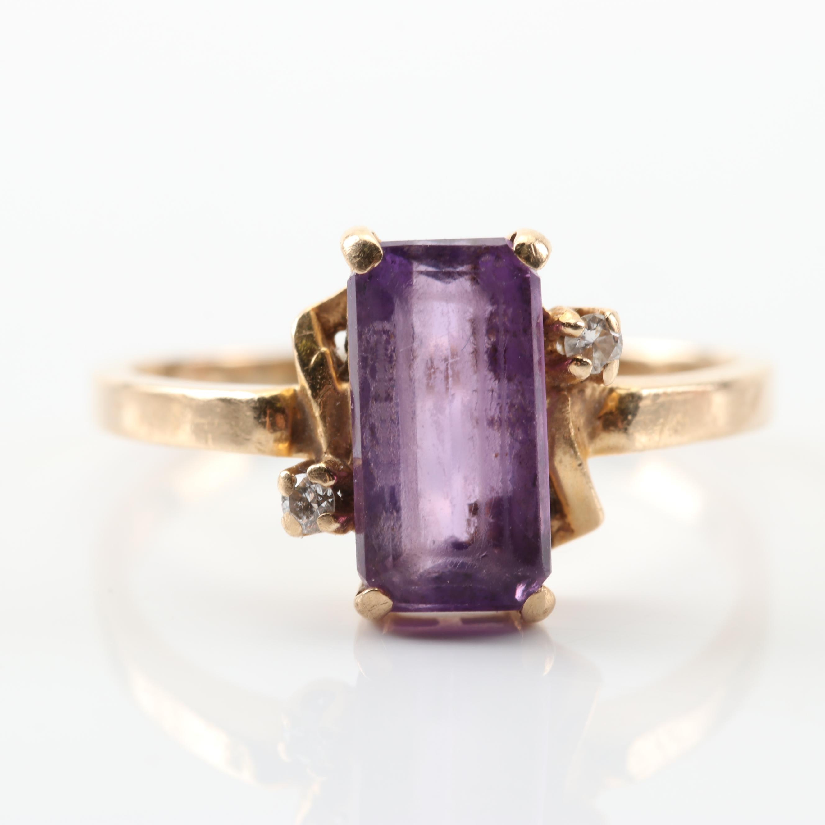 14K Yellow Gold 1.75 CT Amethyst and Diamond Ring