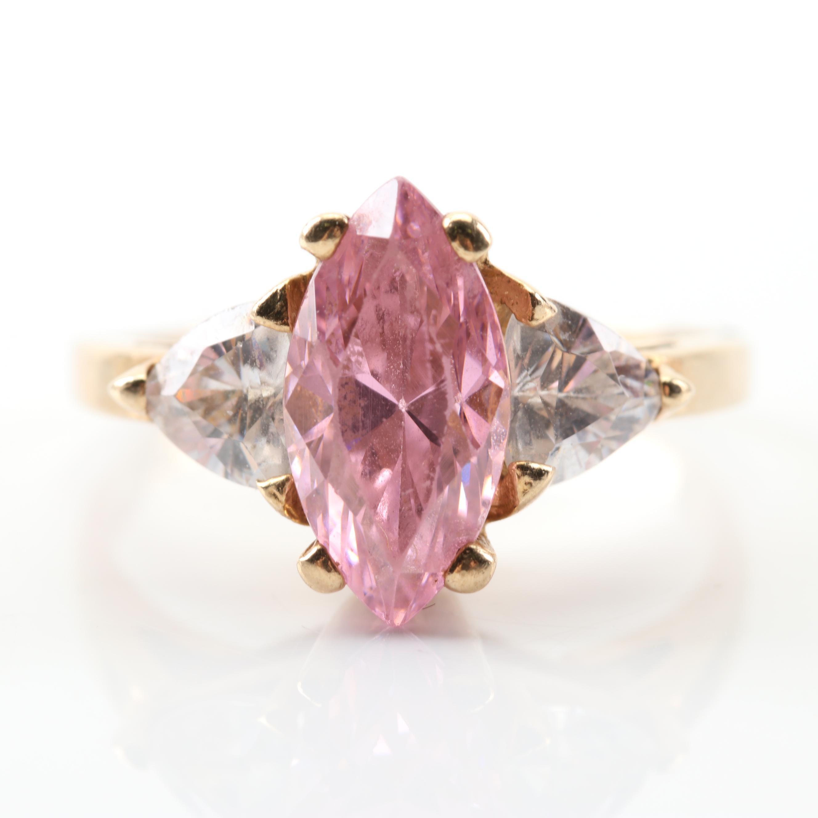 10K Yellow Gold Pink Cubic Zirconia Ring