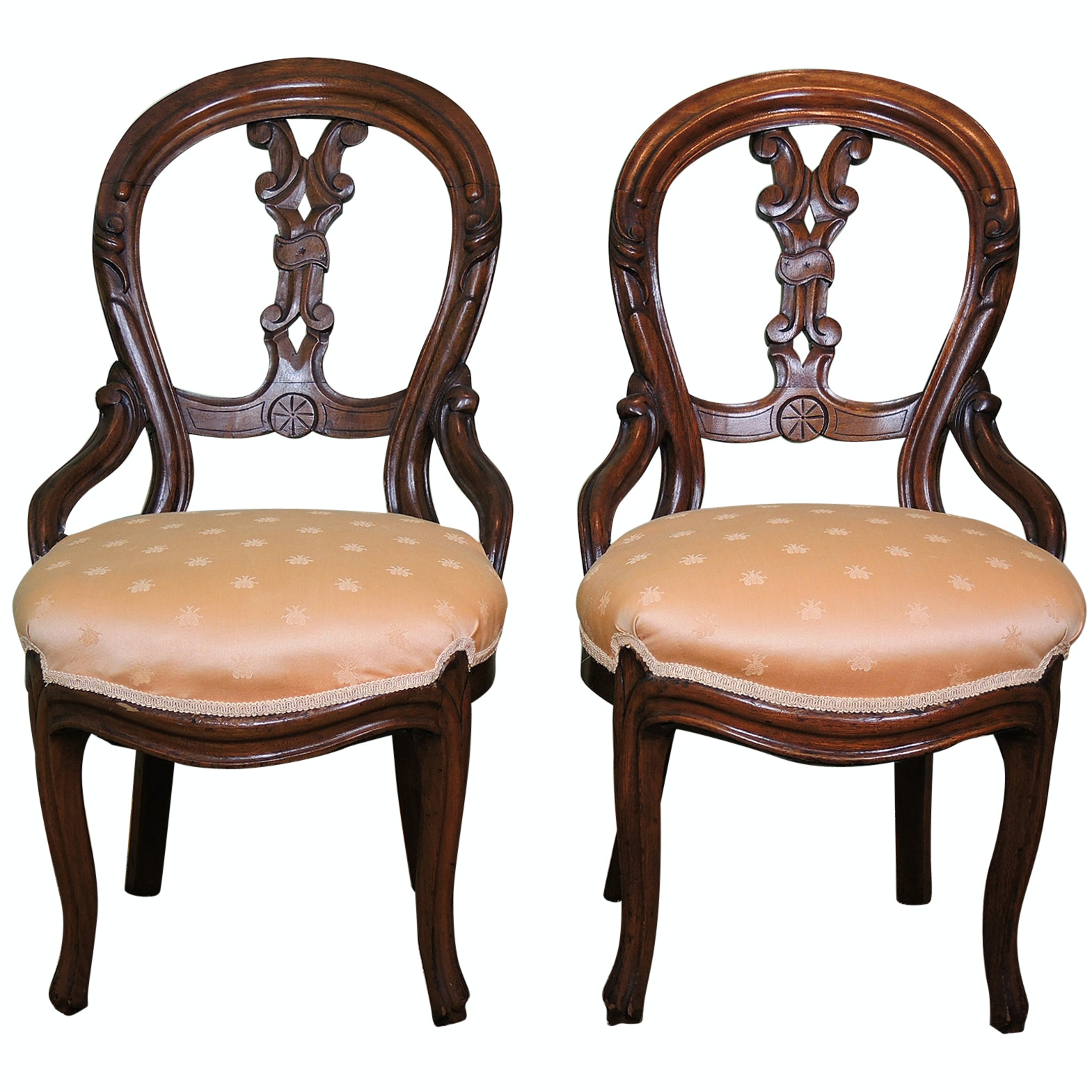Carved Balloon Back Upholstered Chairs With Bee Pattern Fabric