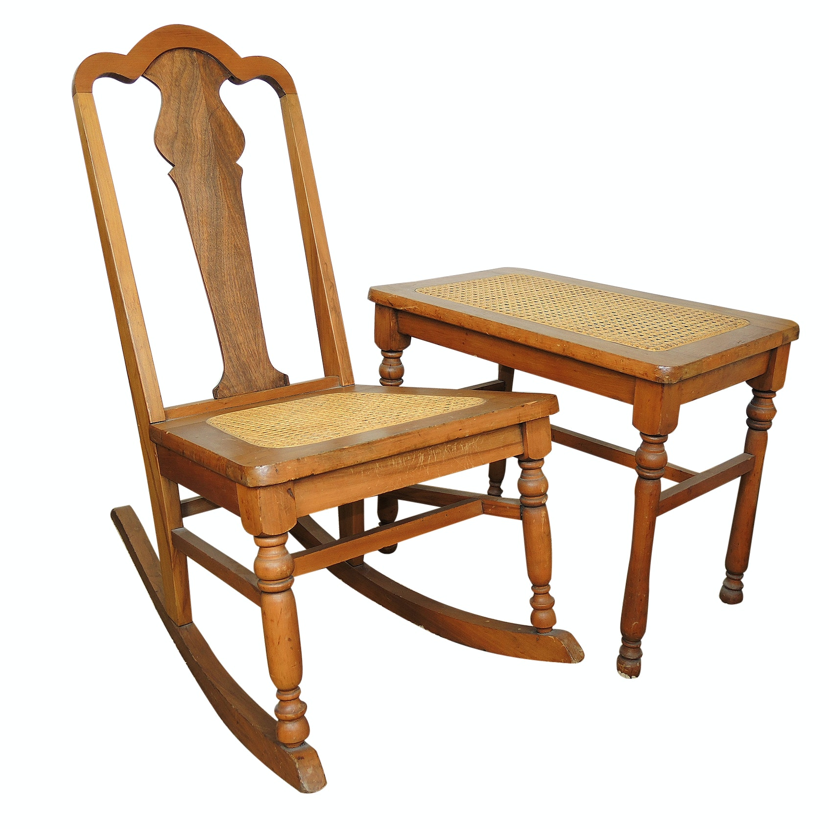 Sewing/Nursing Rocker and Bench with Caned Seating