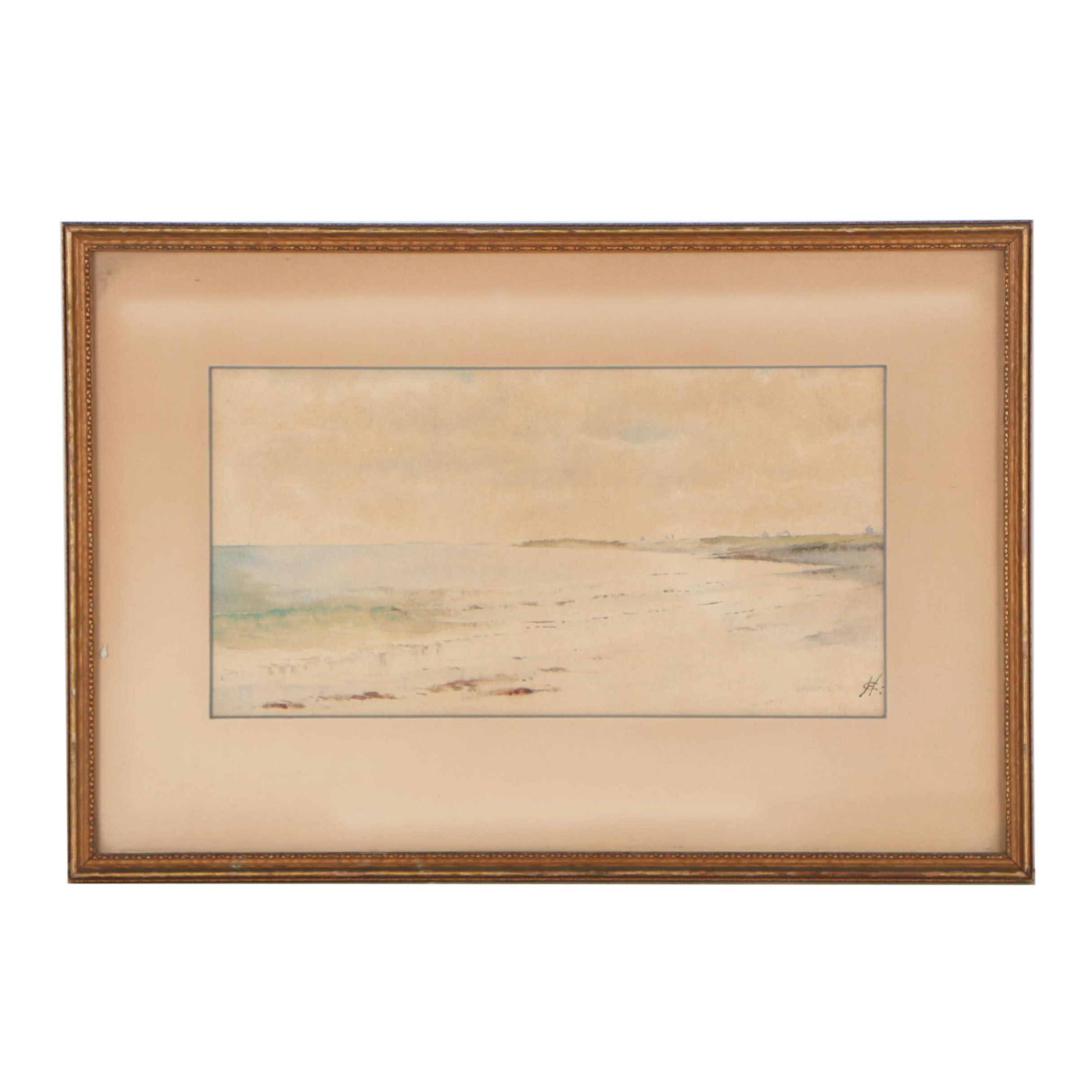1891 Watercolor Painting of Coastal Scene