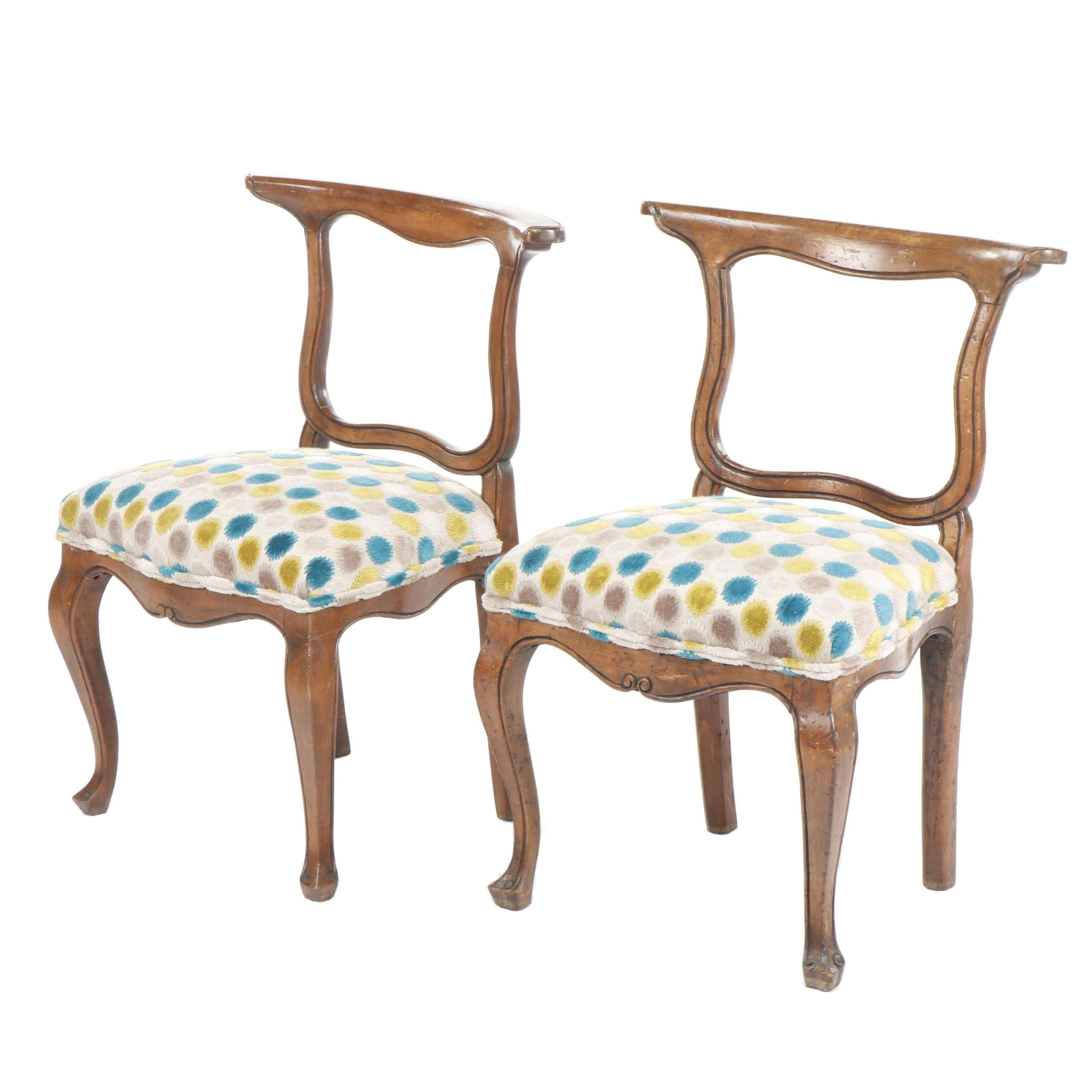 Pair of Louis XV Revival Style Wooden Chairs