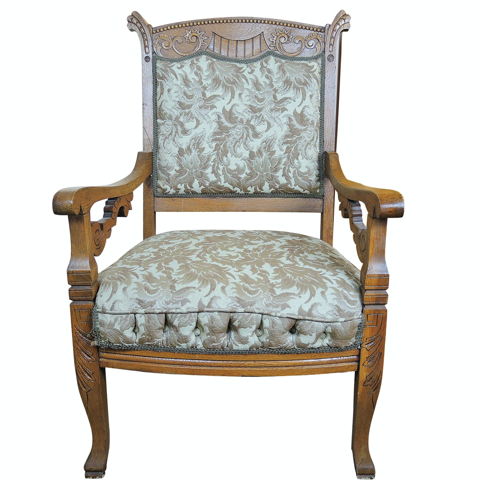 Carved Eastlake Style Oak Upholstered Armchair Late 19th Century