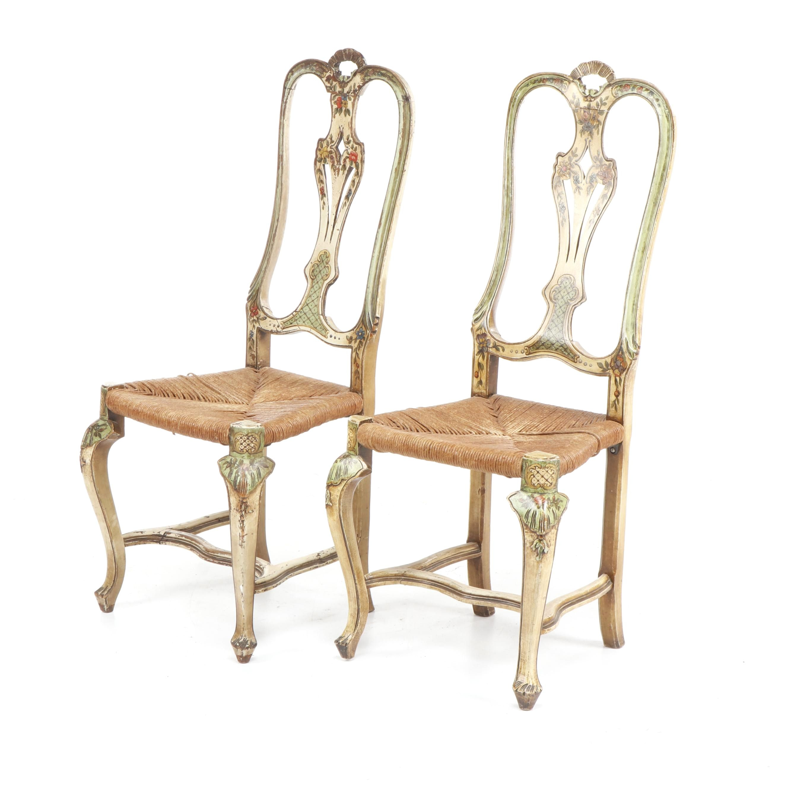 Hand-Painted Queen Anne Style Side Chairs with Rush Seats