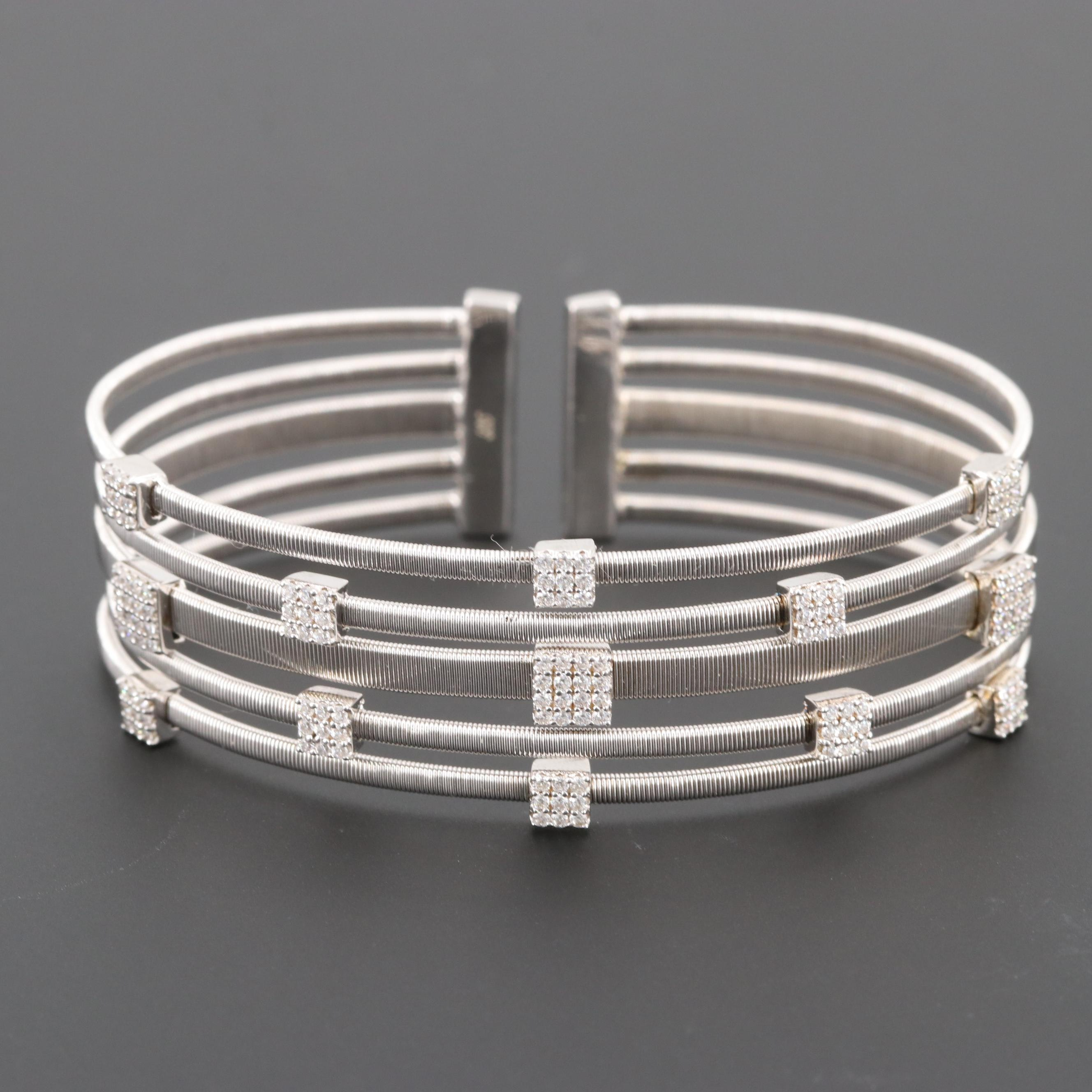 Sterling Silver Multi Chain Cuff Bracelet with Cubic Zirconia Stations