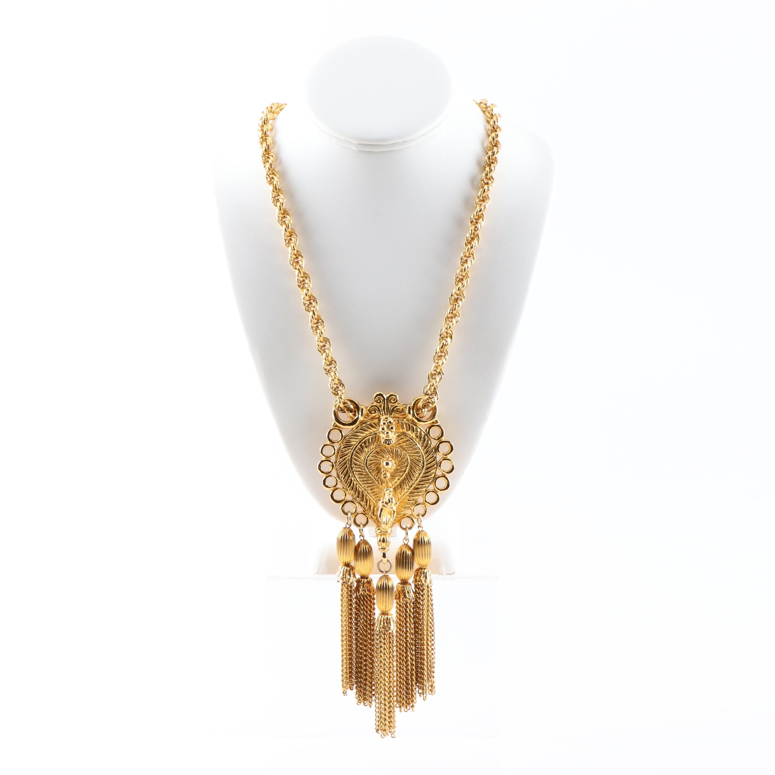 Judith Leiber Gold Tone Tassel Necklace