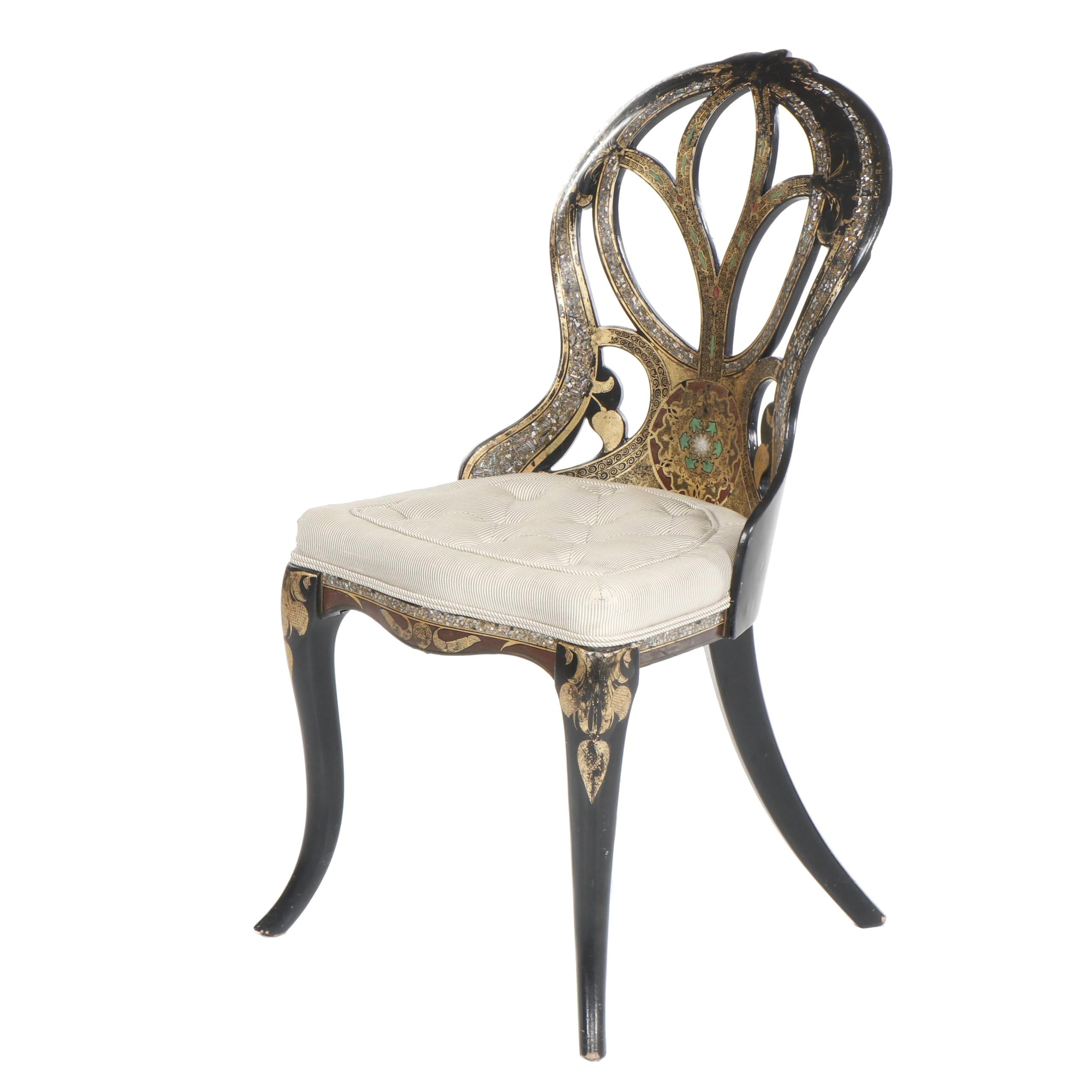 Rococo Revival Style Side Chair with Intricate Shell Inlay, 20th Century