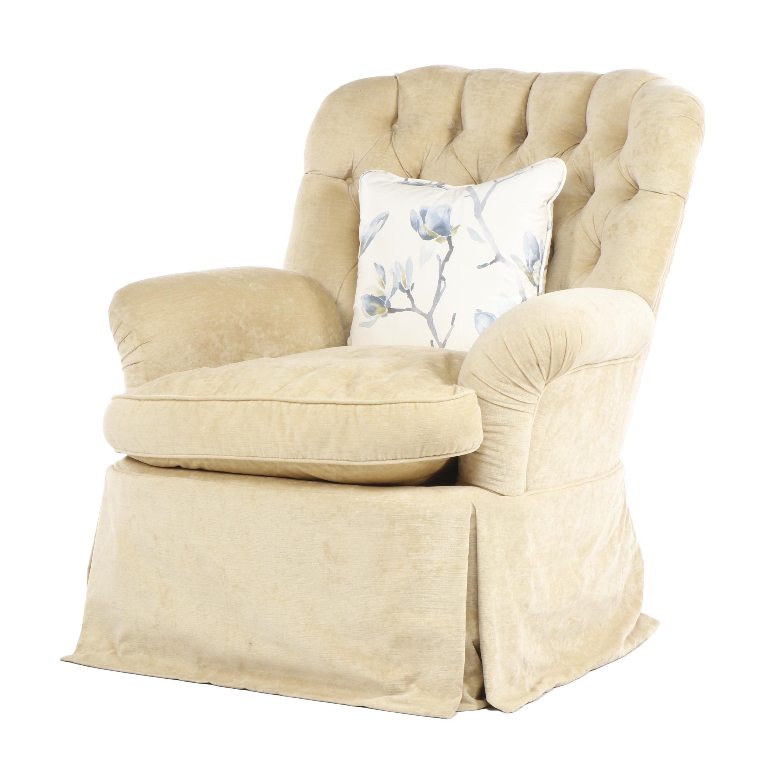 Tan Button Tufted Upholstered Armchair