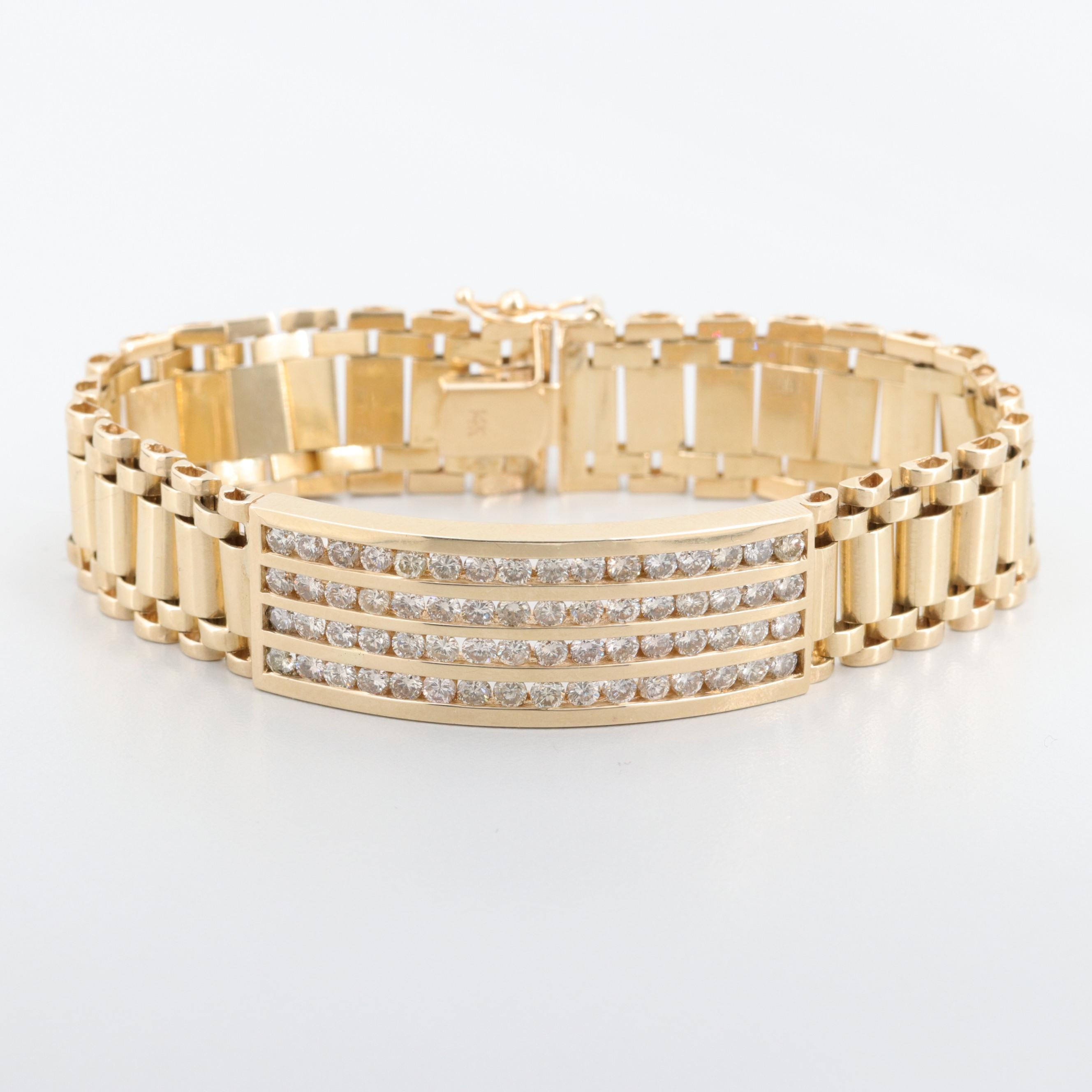 14K Yellow Gold 4.16 CTW Diamond Bracelet