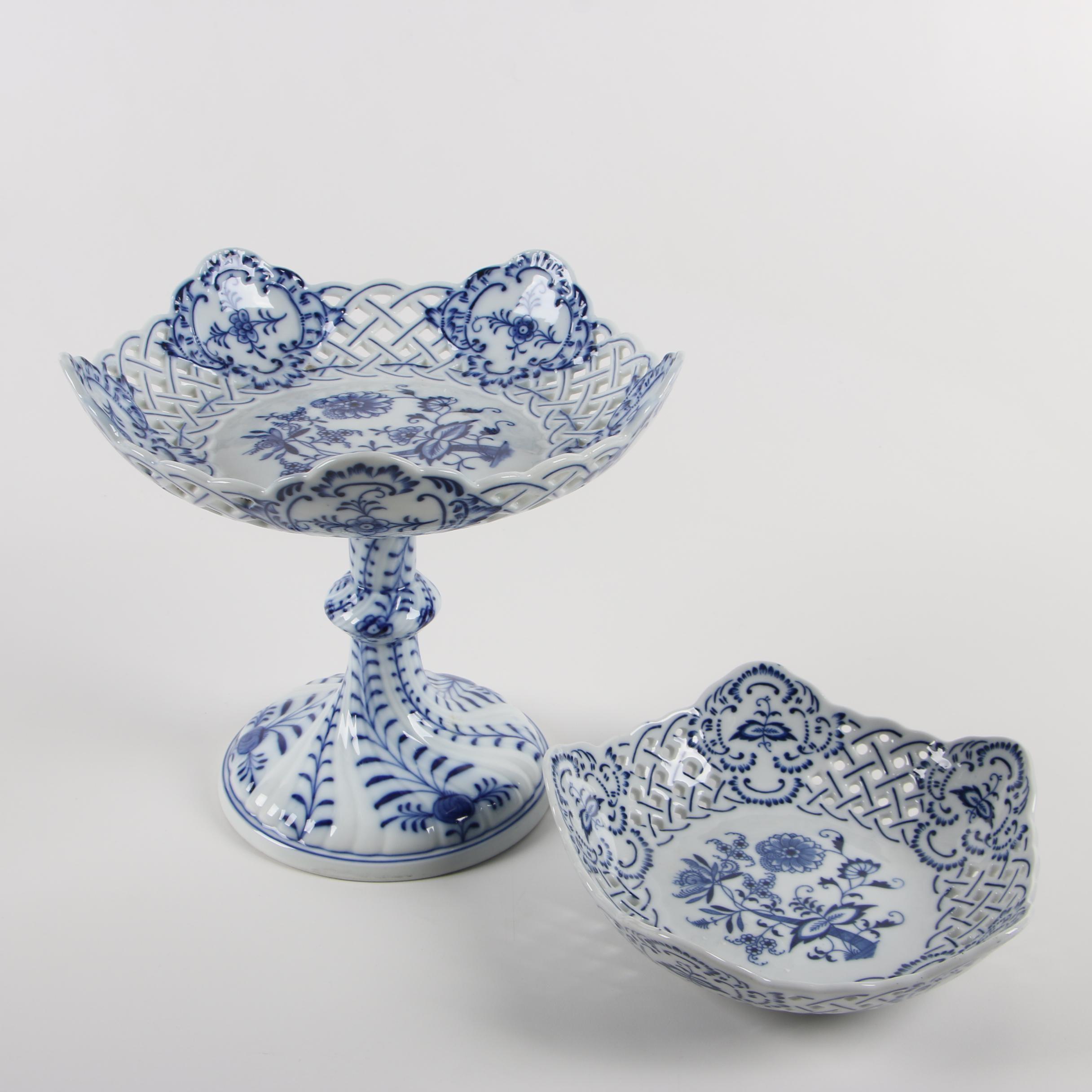 "Meissen Carl Teichert and Blue Danube ""Blue Onion"" Porcelain Tableware"