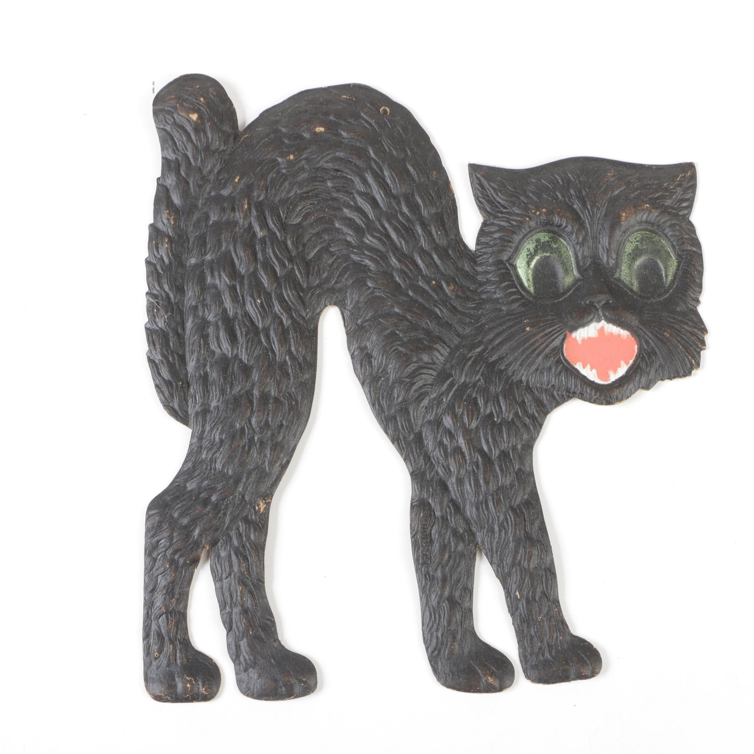 German Pressed Cardboard Black Cat Halloween Decoration, Early 20th Century