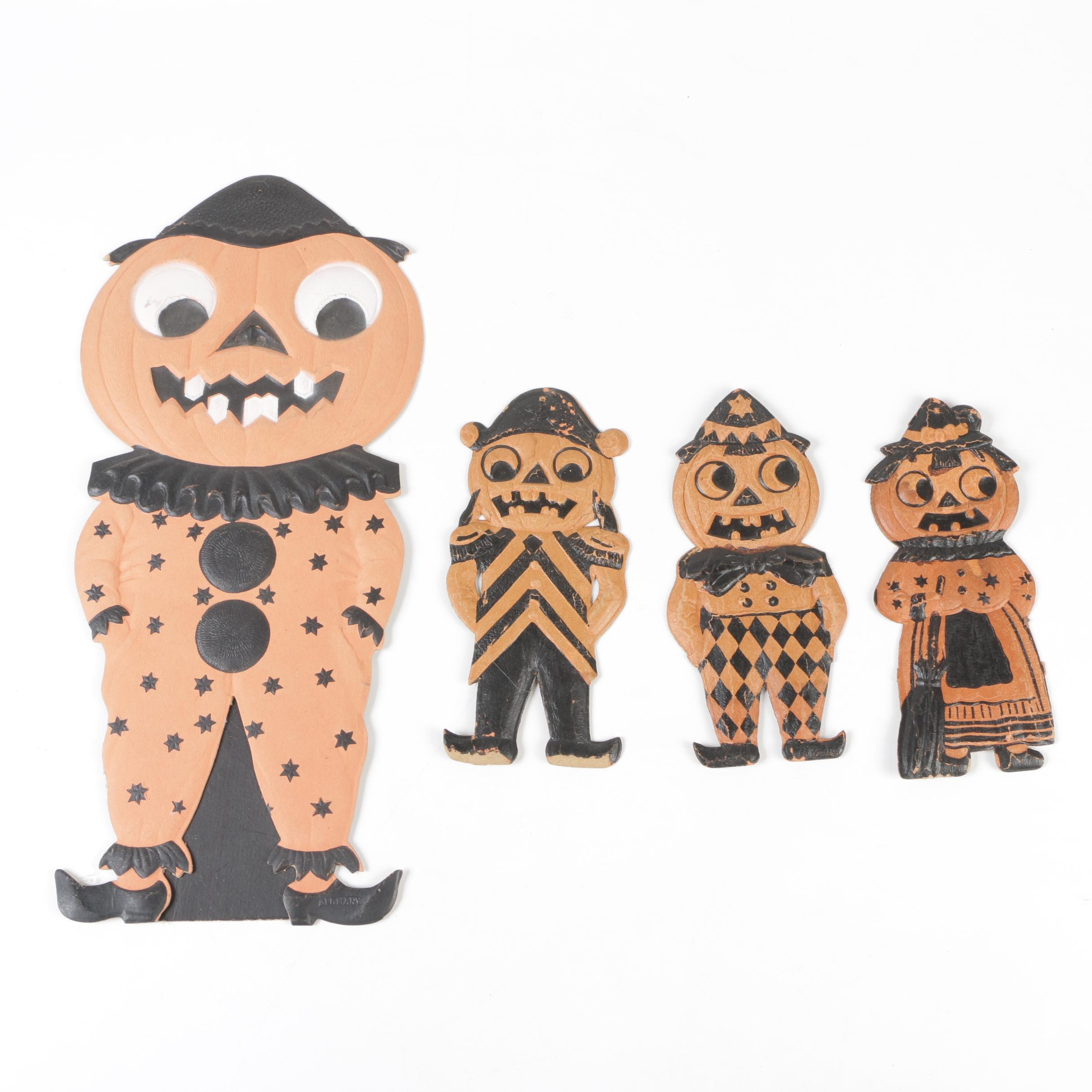 German Pressed Cardboard Halloween Decorations, Early 20th Century