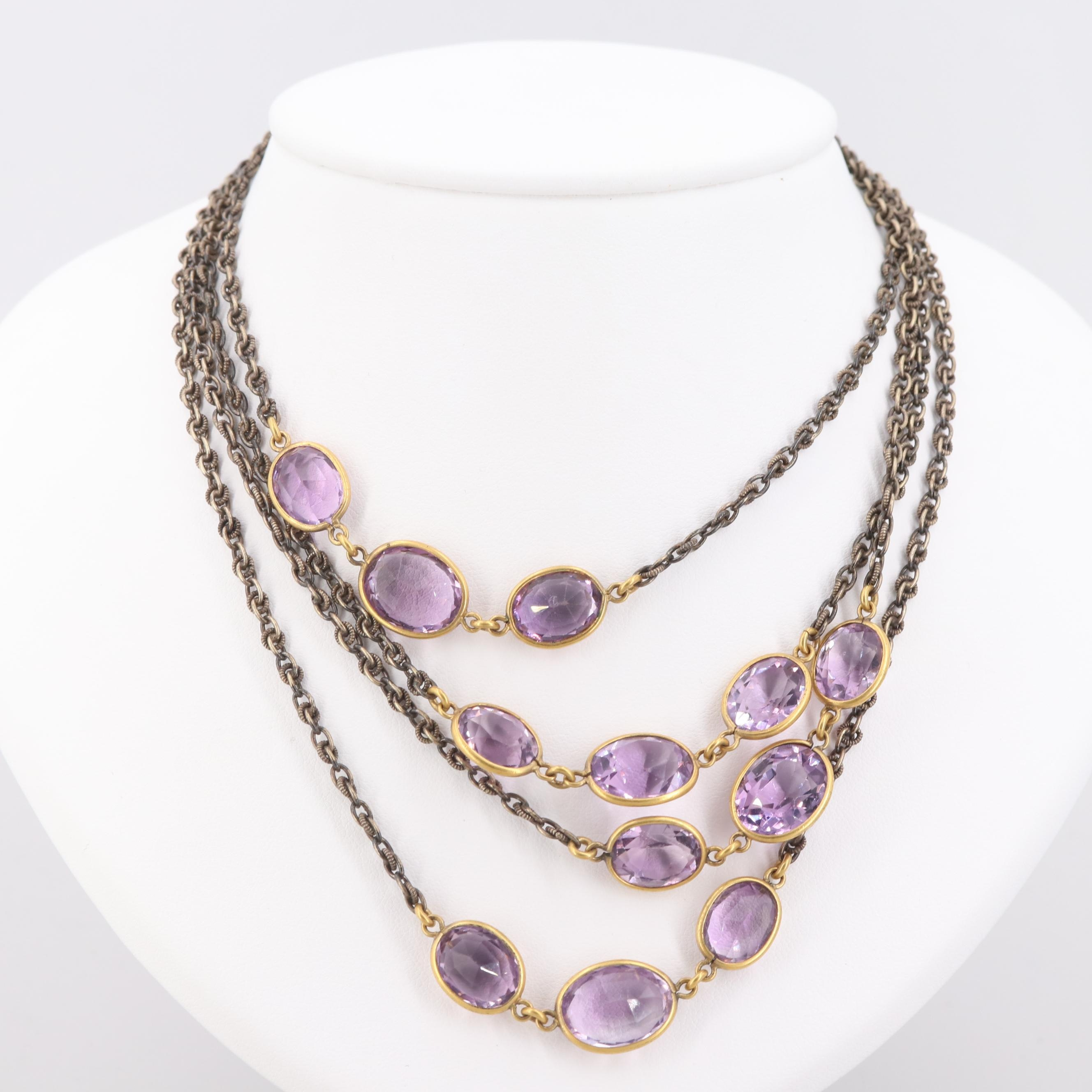 Gold Tone Amethyst Station Necklace