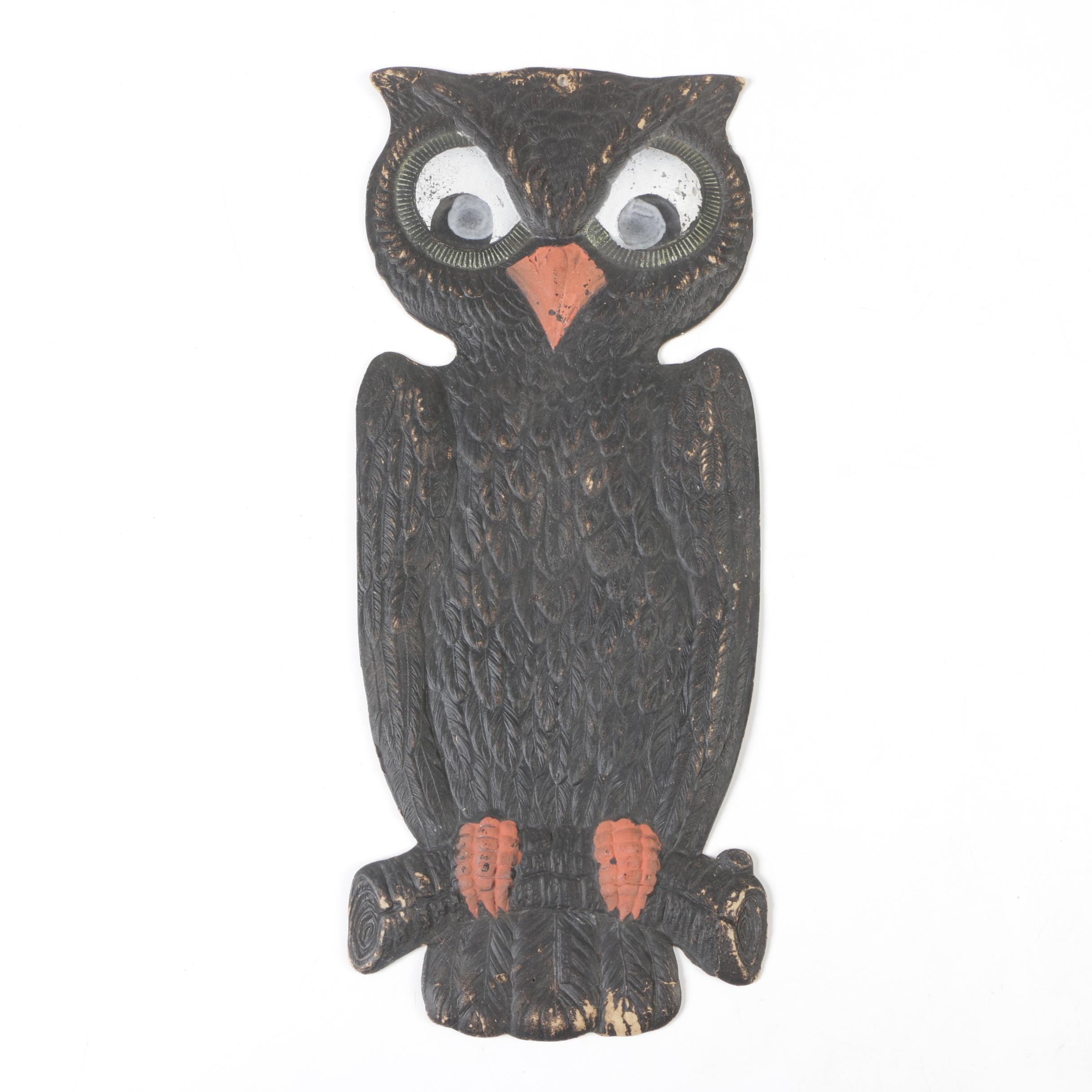 German Pressed Cardboard Owl Halloween Decoration, Early 20th Century