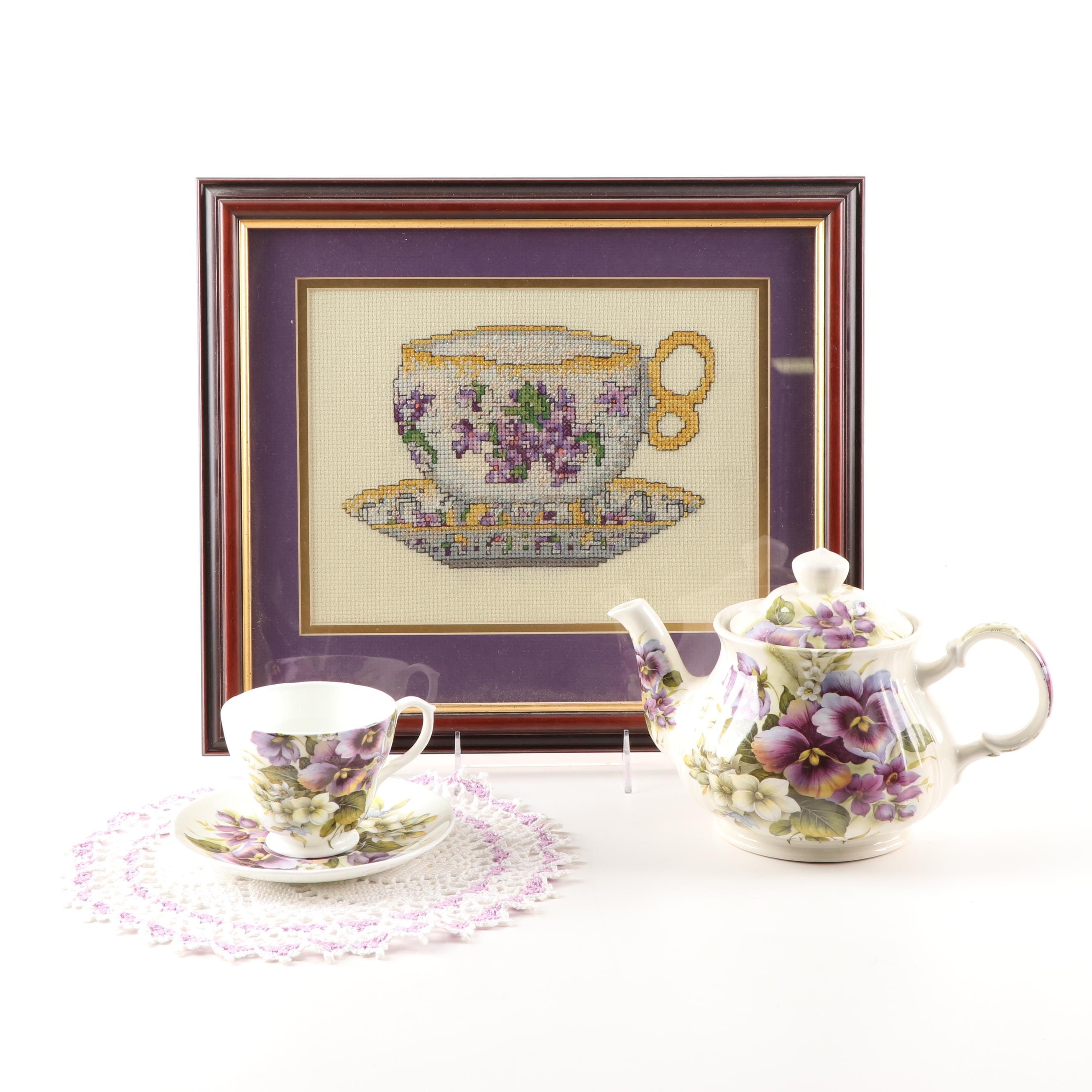 Royal Cuthbertson Teapot, Teacup, Saucer, Doily and Framed Cross Stitch