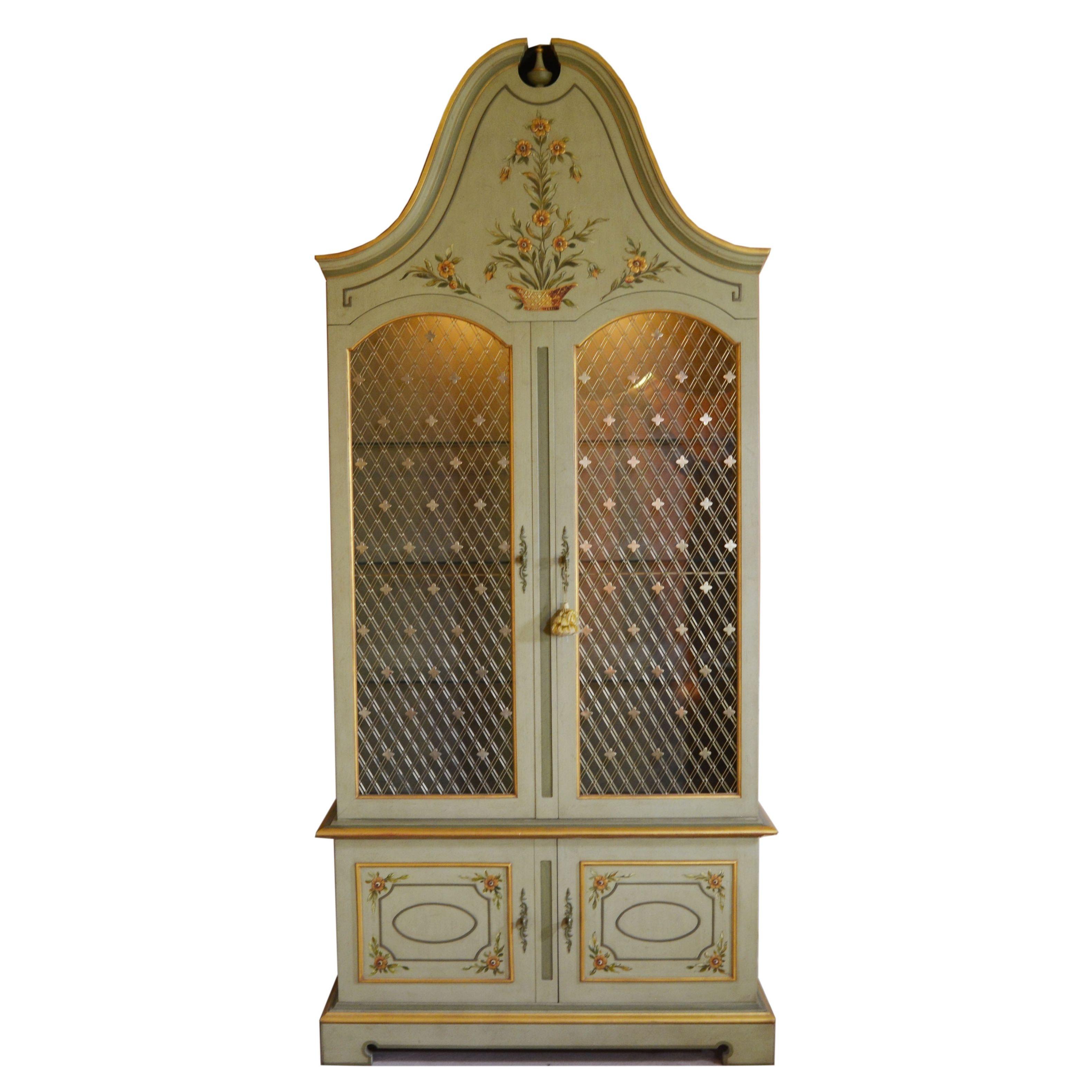 John Widdicomb French Regency Style Bonnet Top Display Cabinet, Circa 1960s
