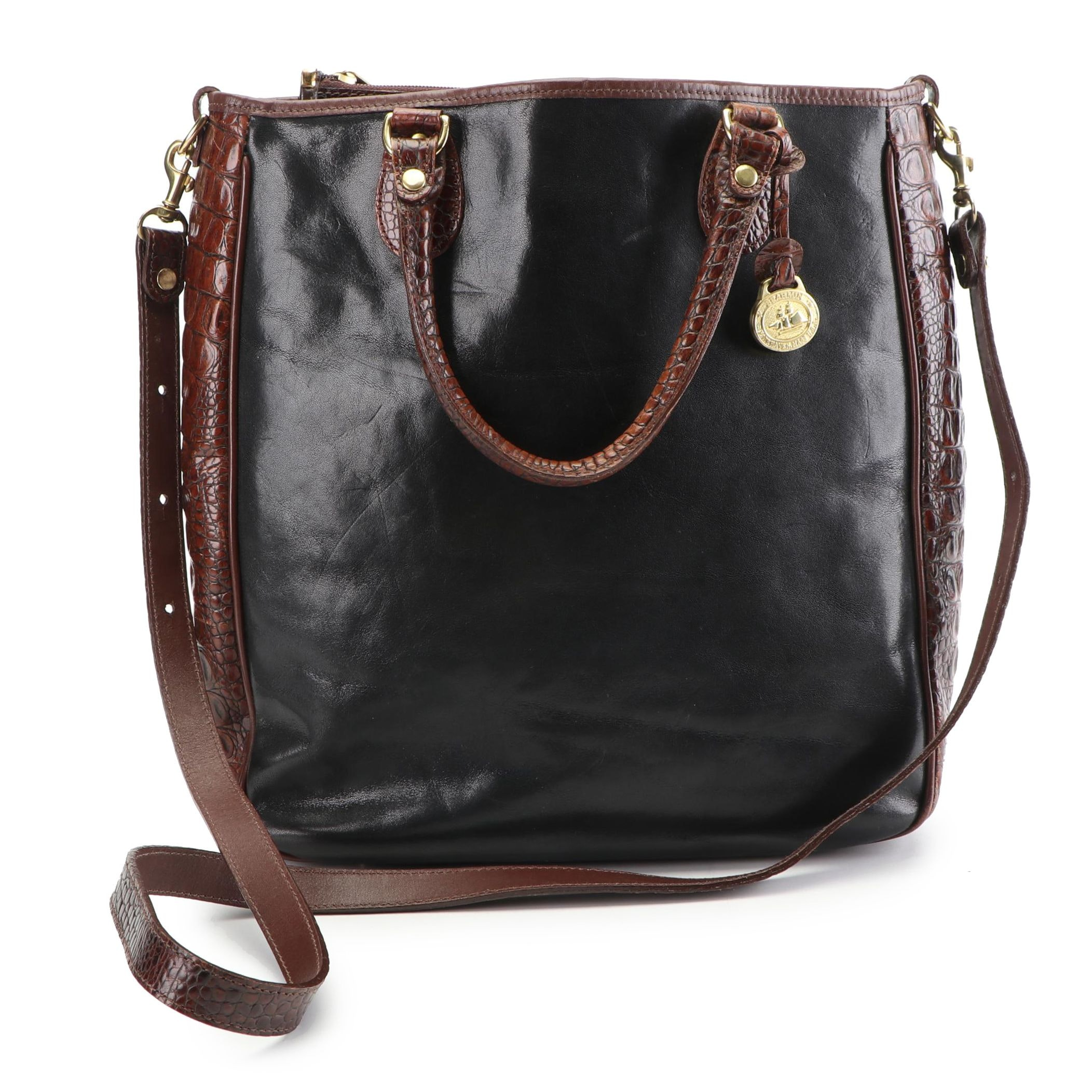 Brahmin Leather and Crocodile Embossed Leather Convertible Tote Bag
