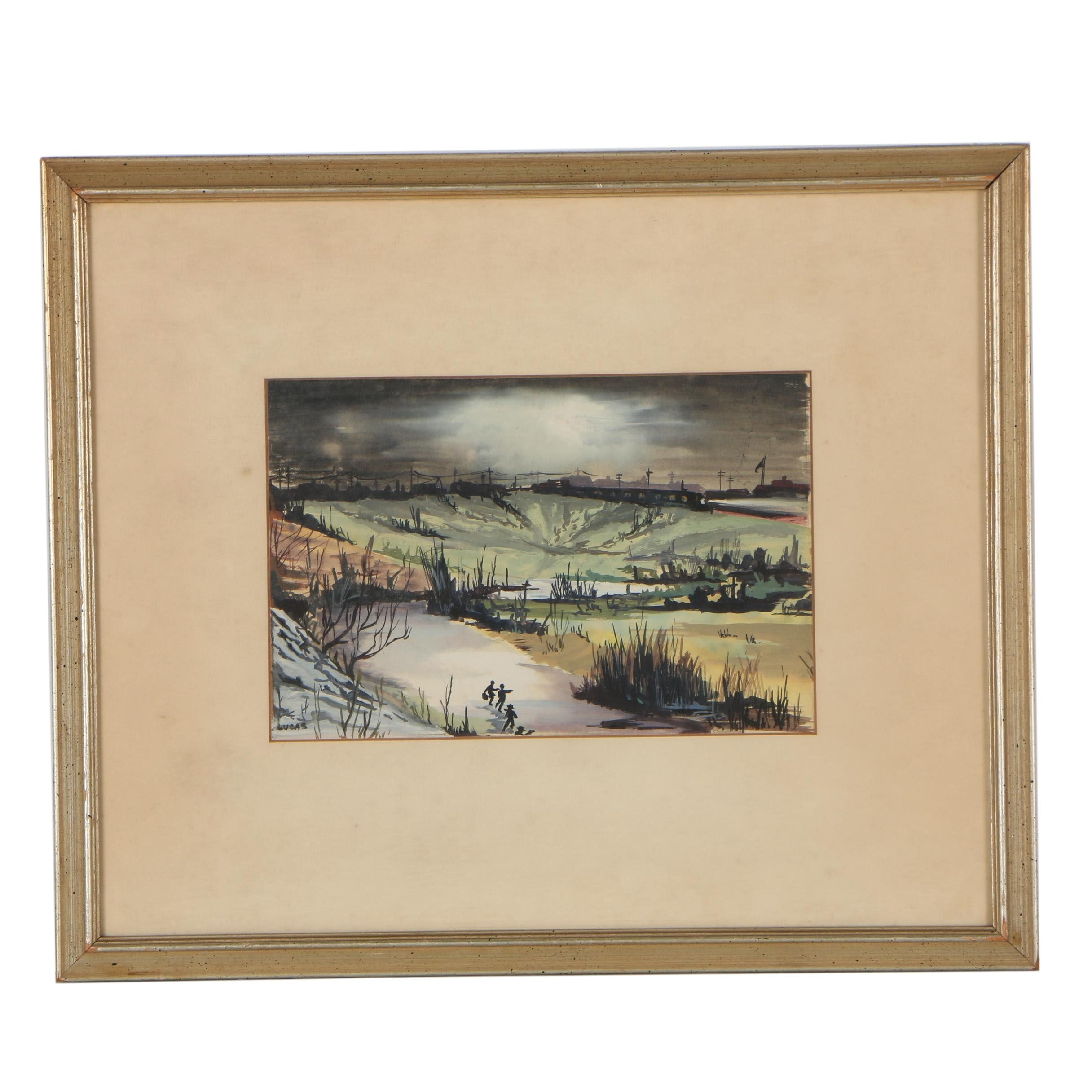 Late 20th Century Watercolor Painting of Figural Landscape