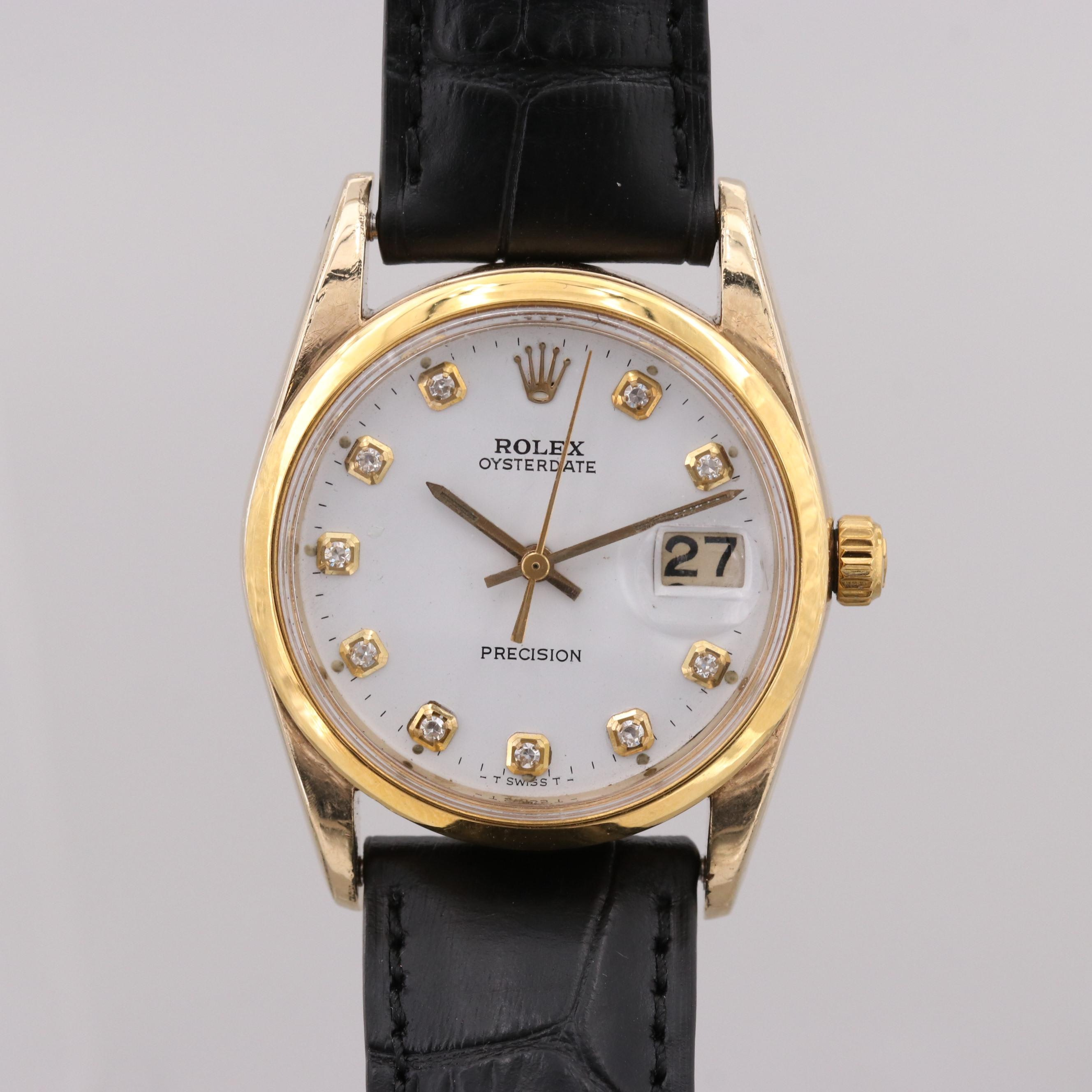 Rolex Oyster Date Stainless Steel and Gold Plate Wristwatch With Diamonds, 1964