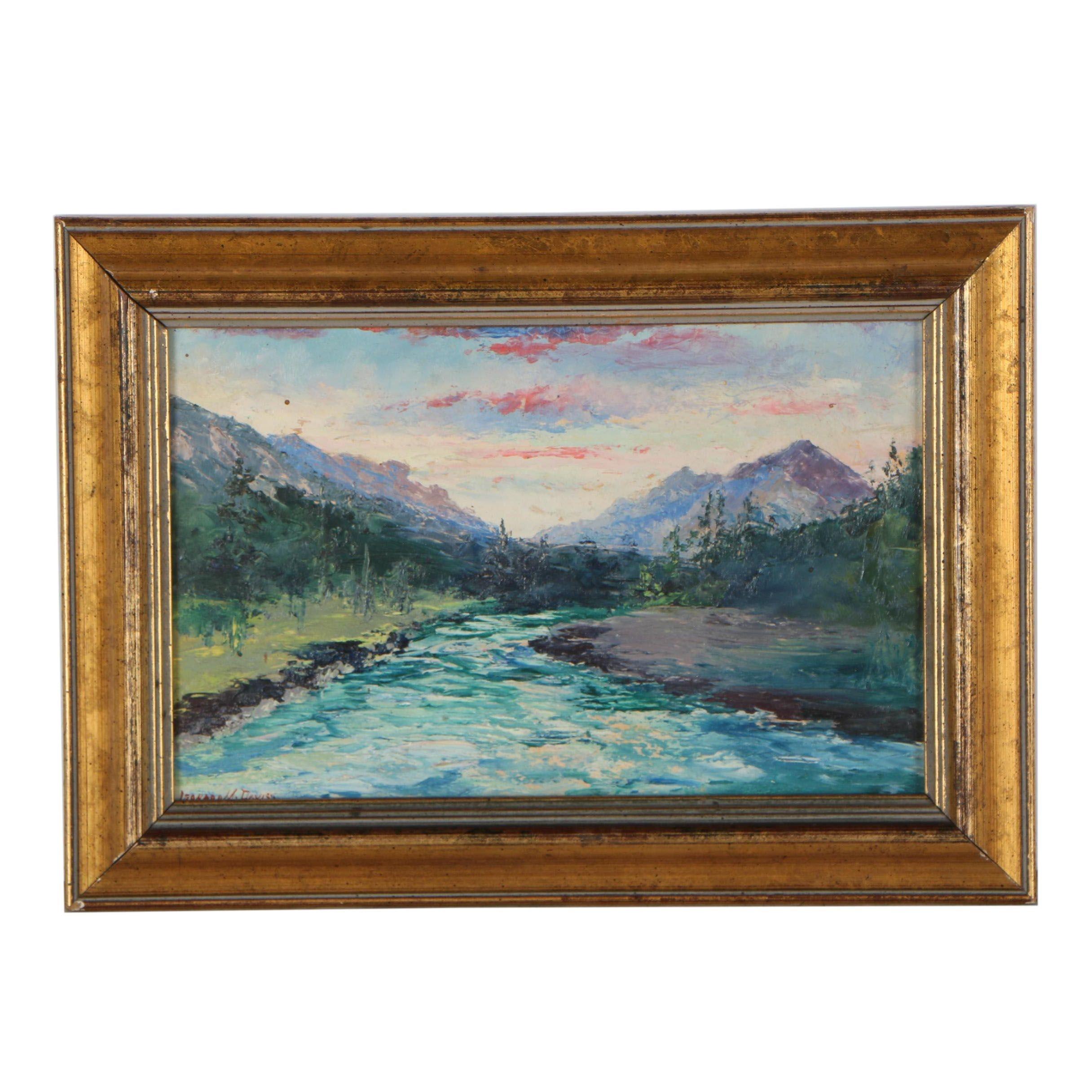 "Leonard M. Davis Oil Painting ""Spruce River, Banff"""