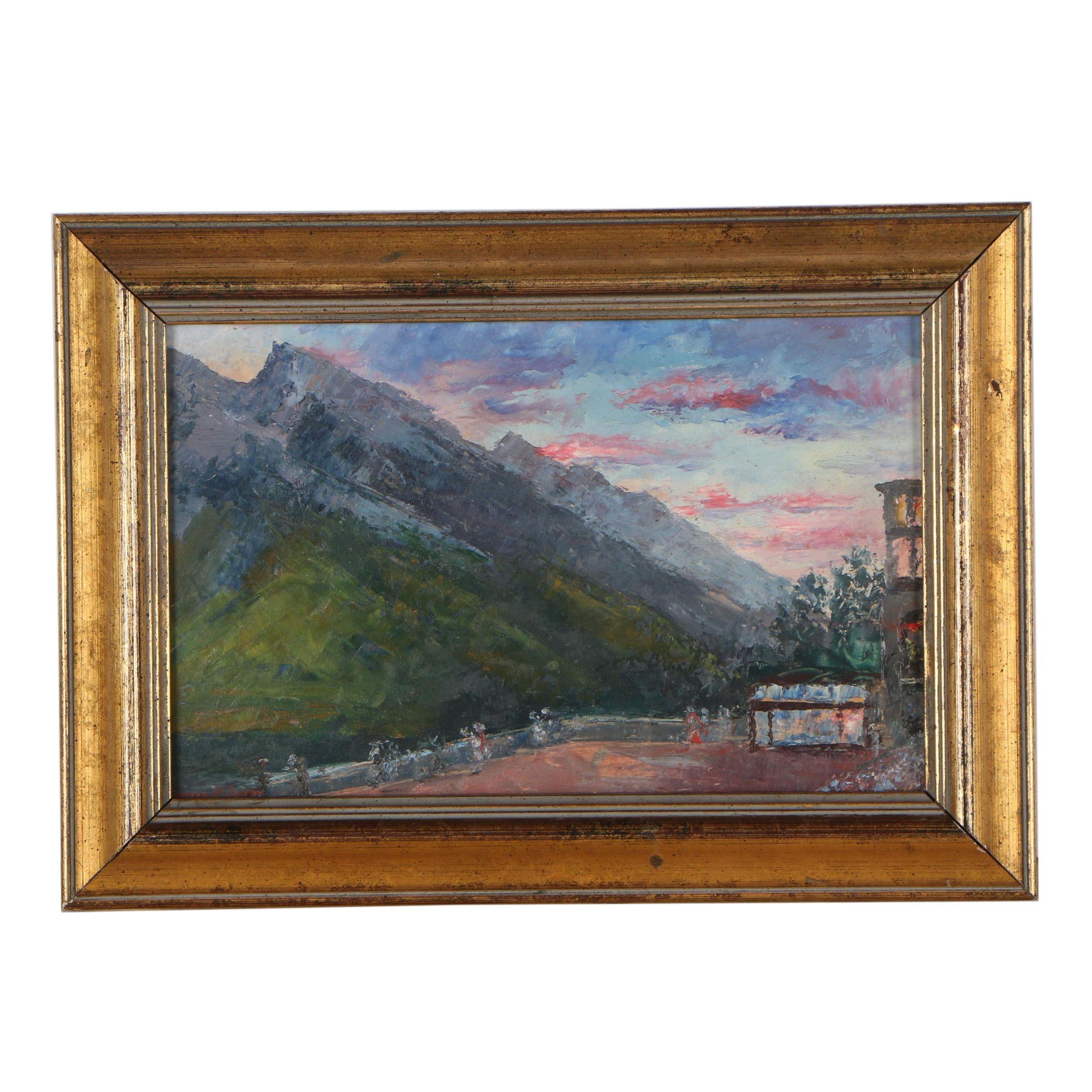 Leonard M. Davis Landscape Oil Painting, 1928
