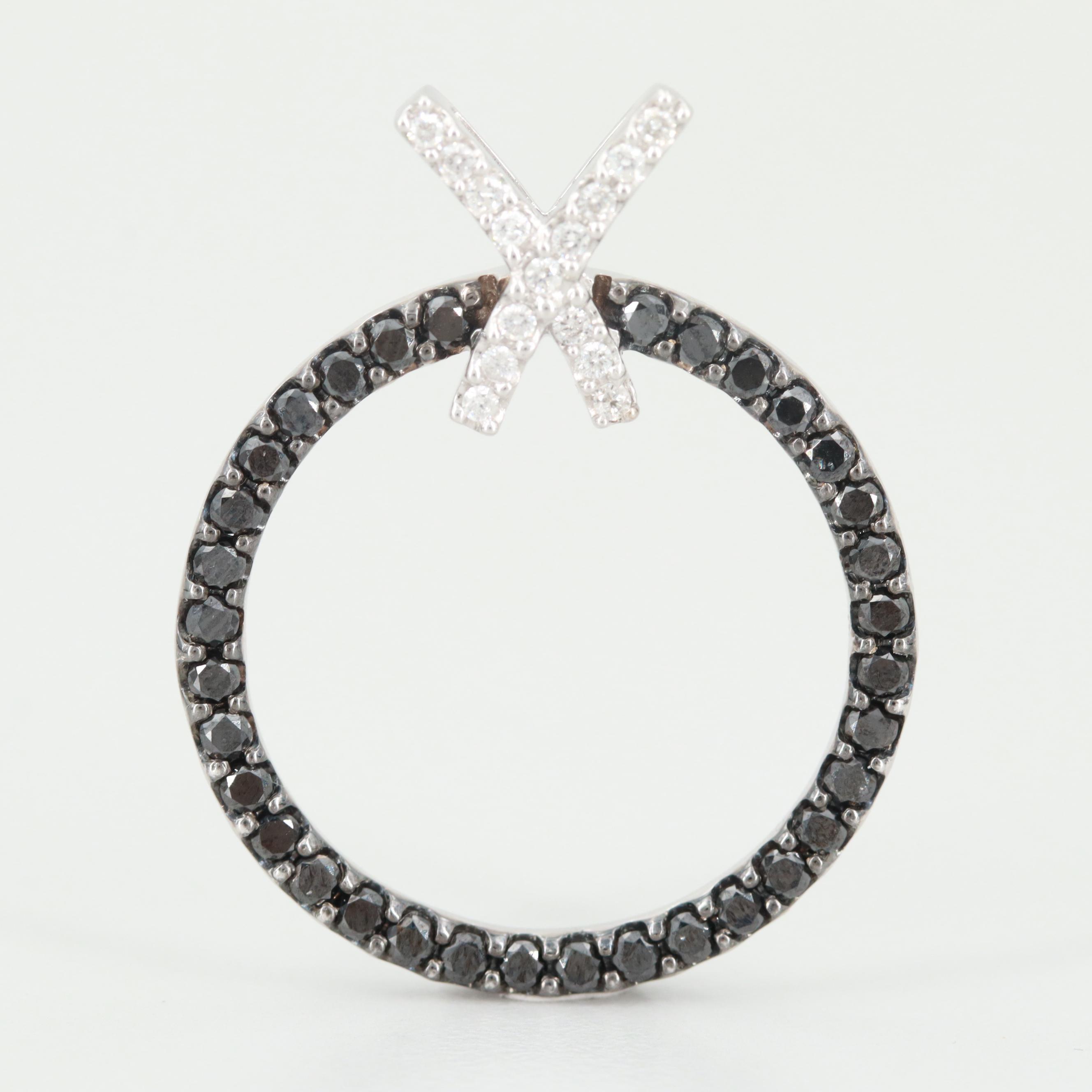 14K White Gold 1.17 CTW Diamond Pendant with Black Diamonds