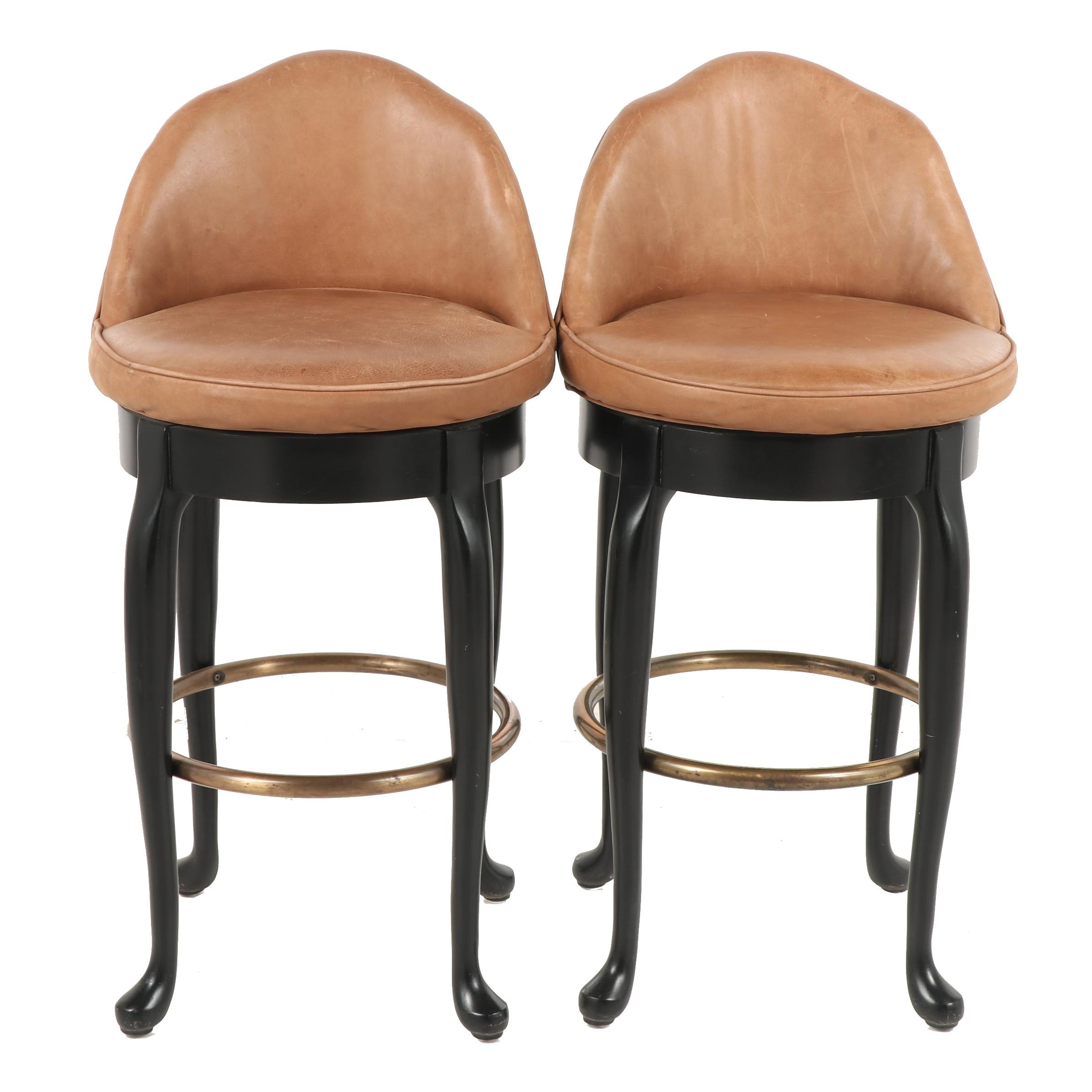Hickory Barstools with Leather Upholstery