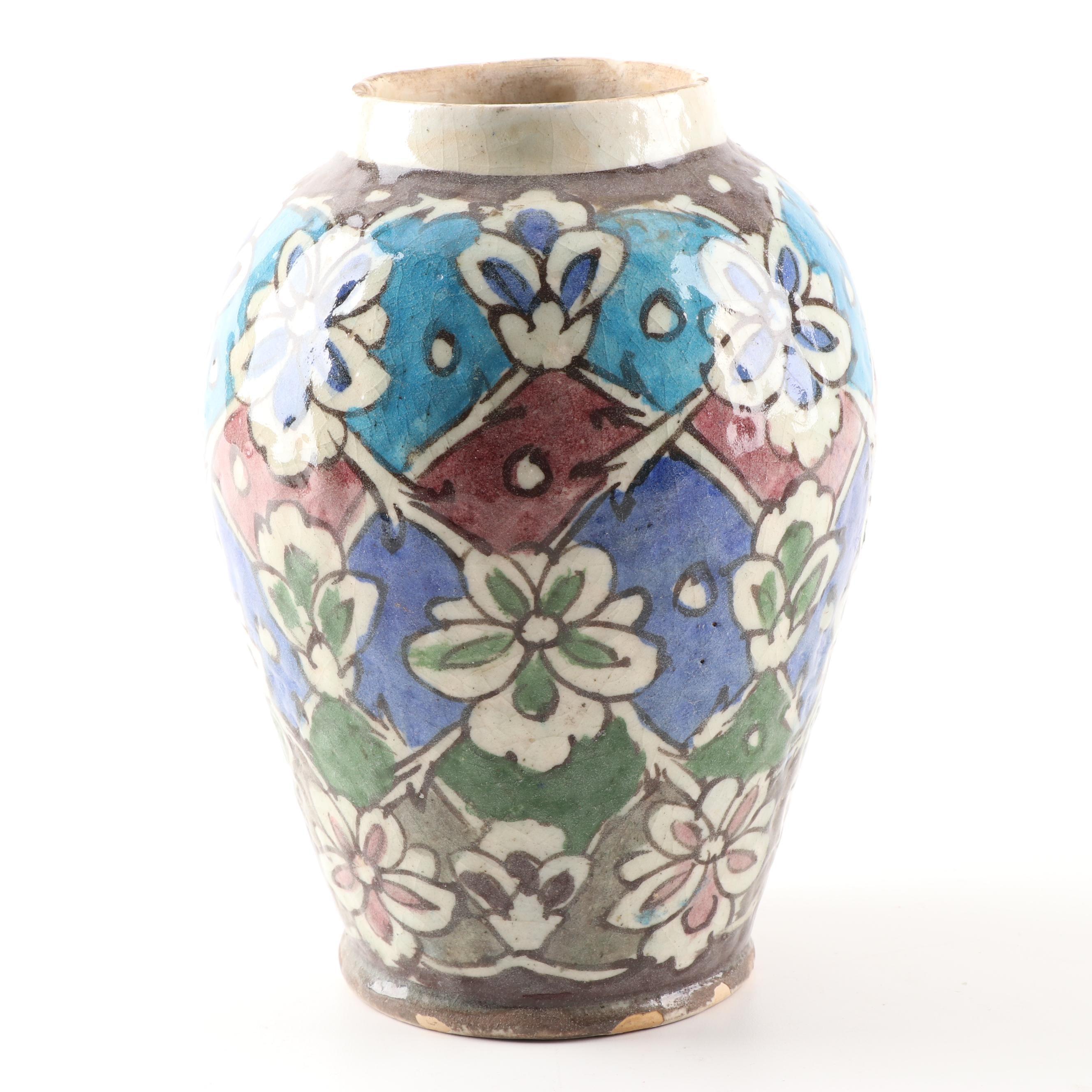 Hand-Painted Turkish Style Earthenware Vase
