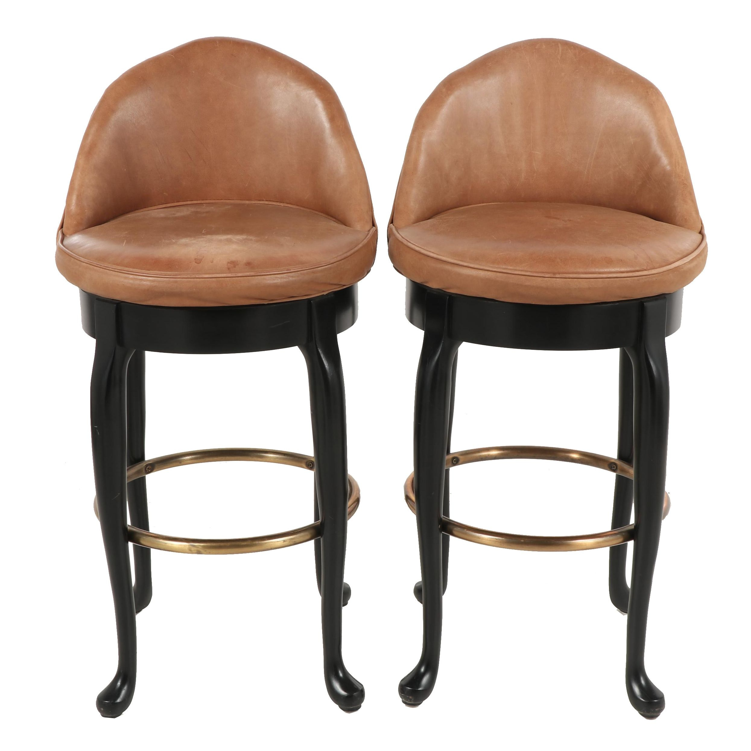 Hickory Swivel Barstools with Leather Upholstery