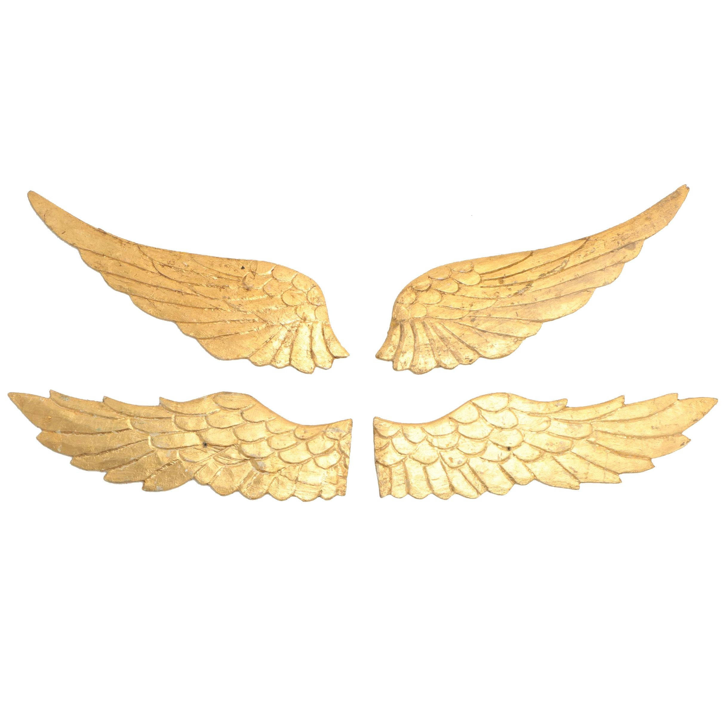 Pairs of Folk Art Style Carved Giltwood Wings
