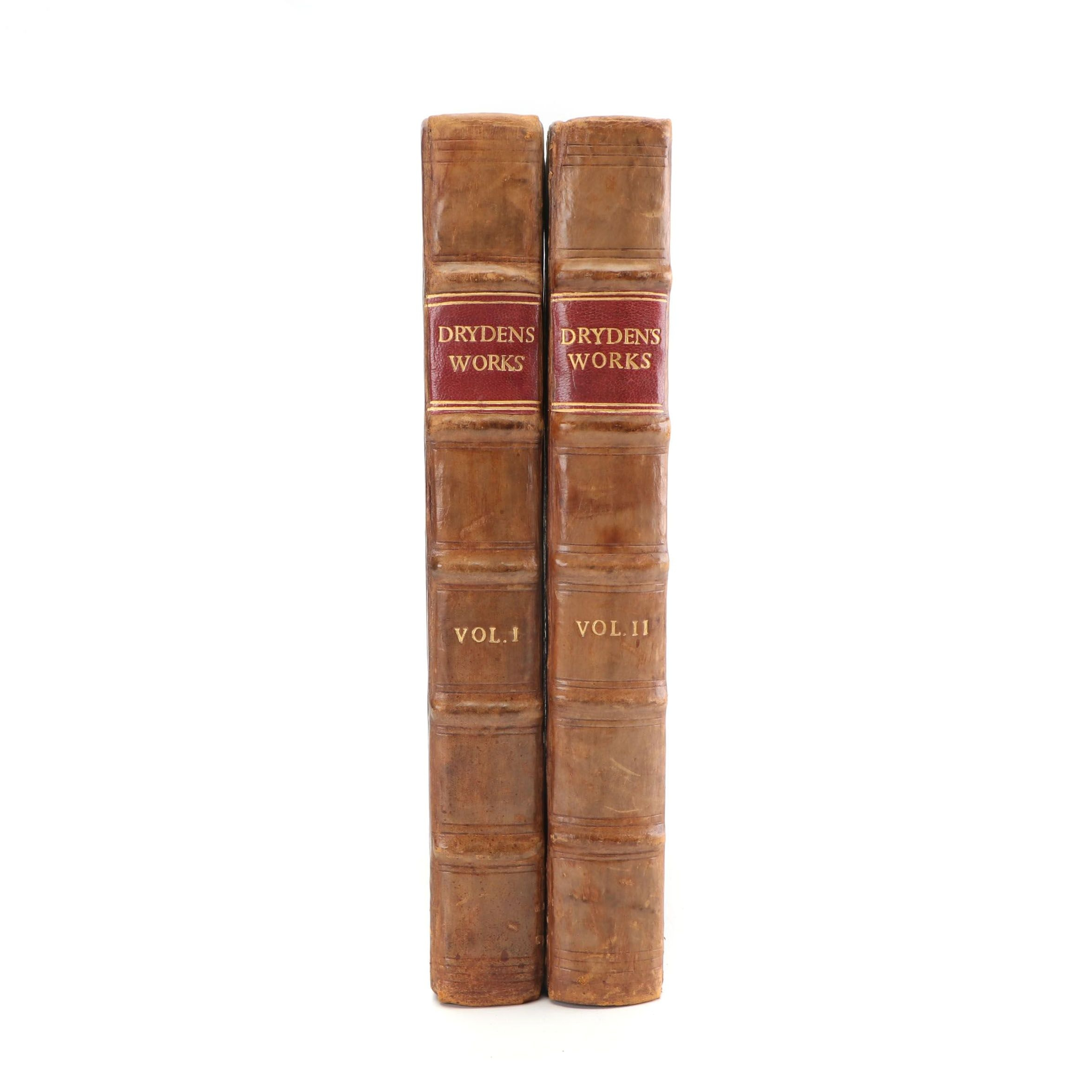 "Leather Bound ""Dryden's Works"" Volumes I-II by John Dryden, 1801"